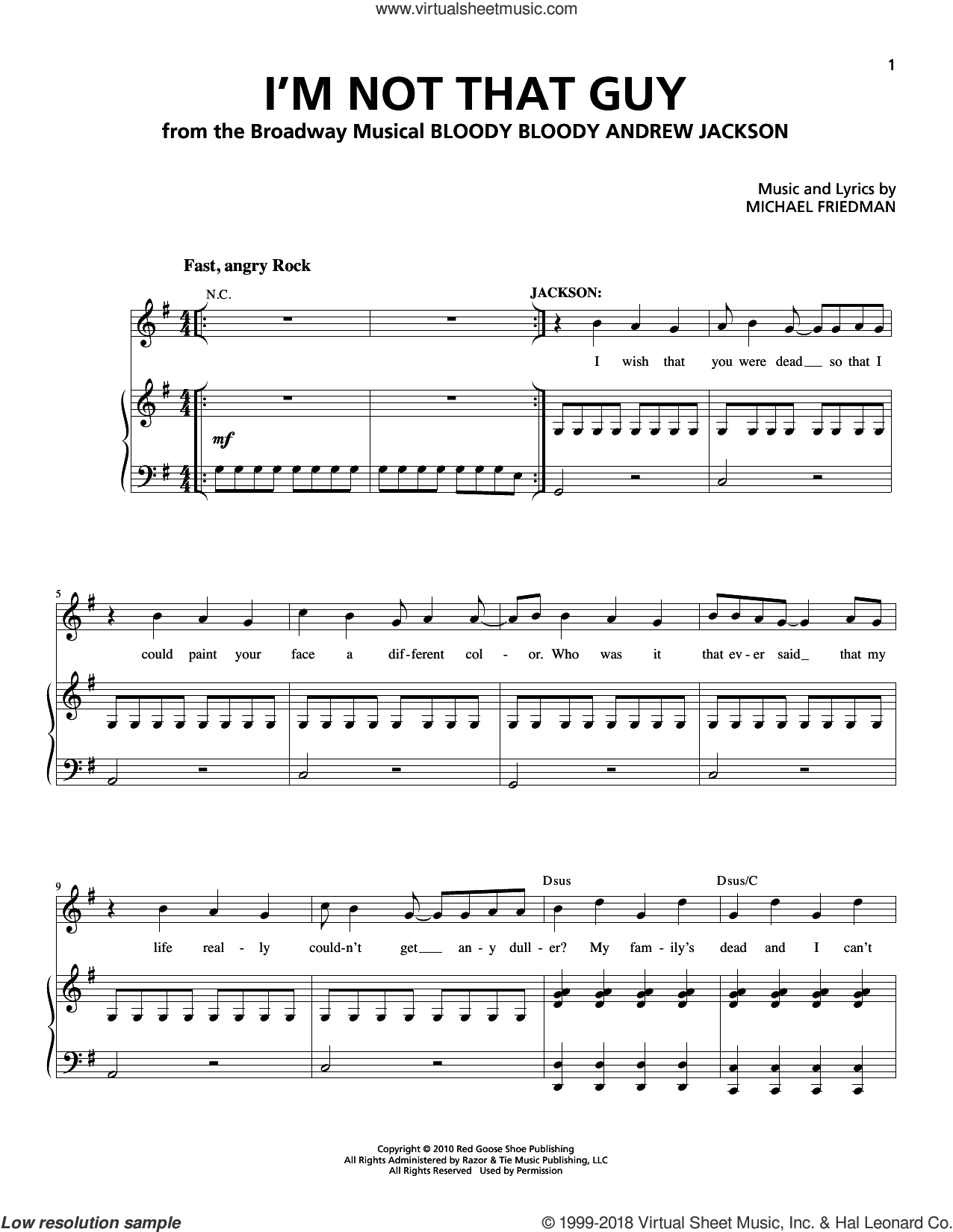 I'm Not That Guy sheet music for voice and piano by Michael Friedman. Score Image Preview.