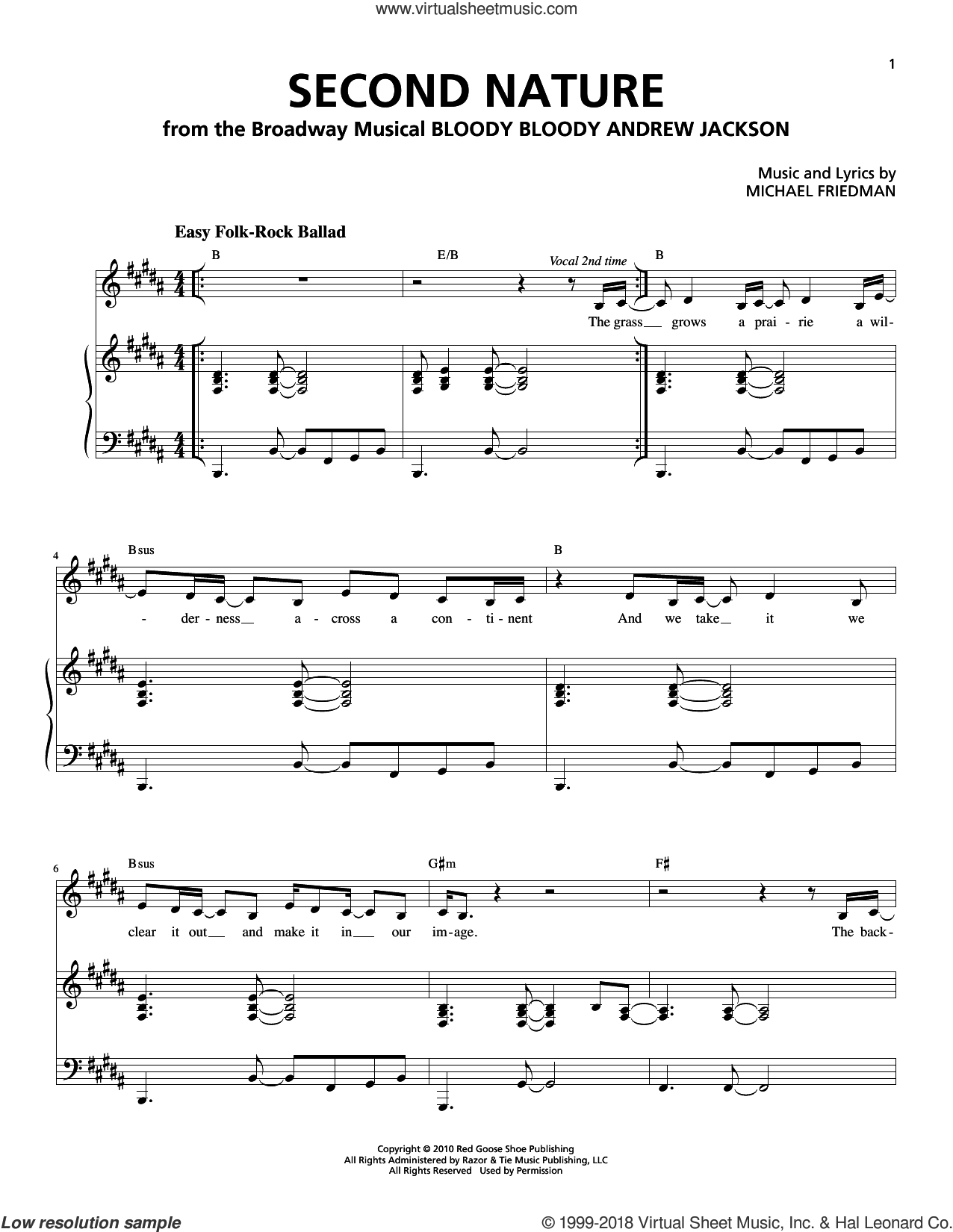 Second Nature sheet music for voice and piano by Michael Friedman. Score Image Preview.