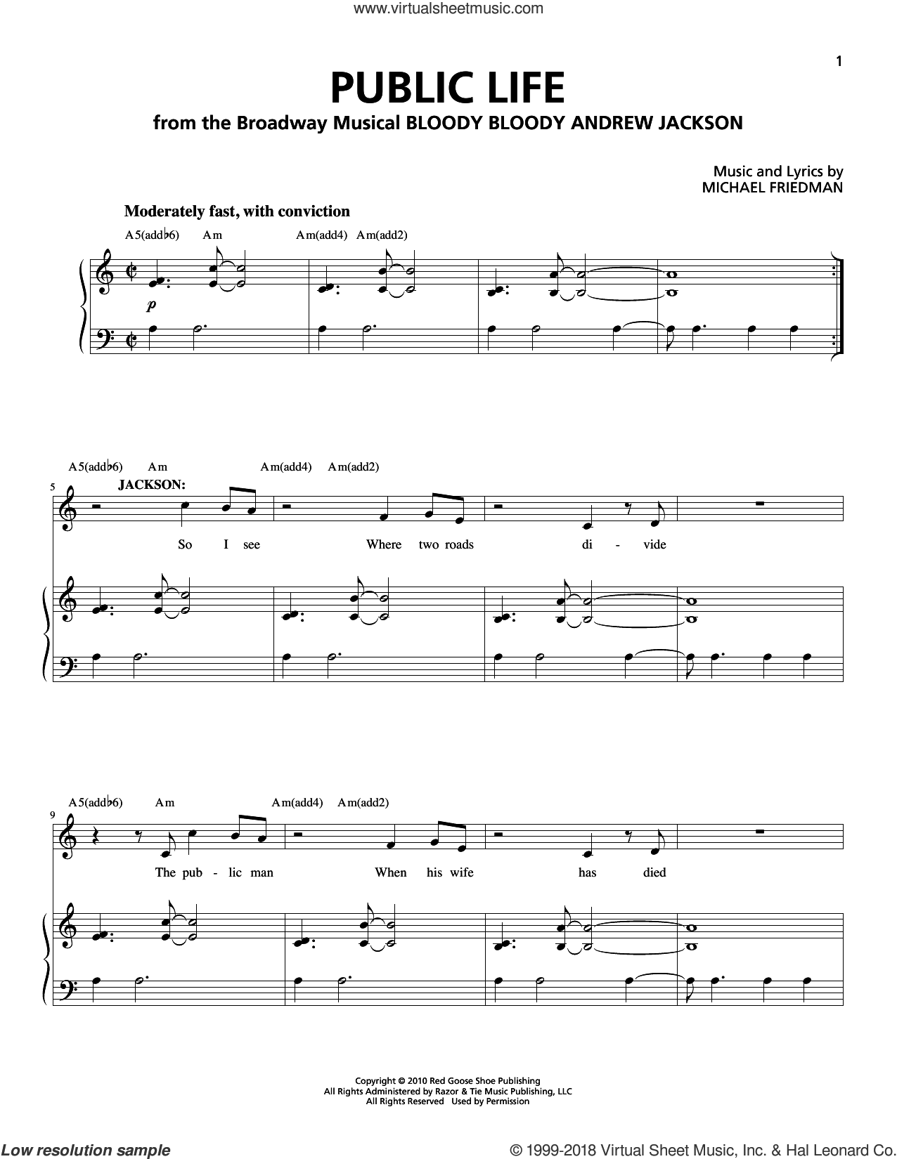 Public Life sheet music for voice and piano by Michael Friedman. Score Image Preview.