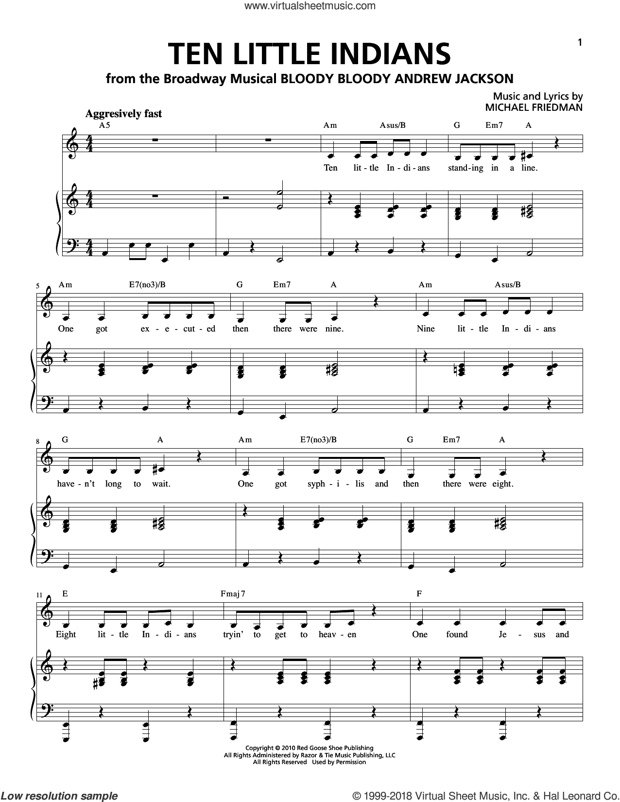 Ten Little Indians sheet music for voice and piano by Michael Friedman. Score Image Preview.
