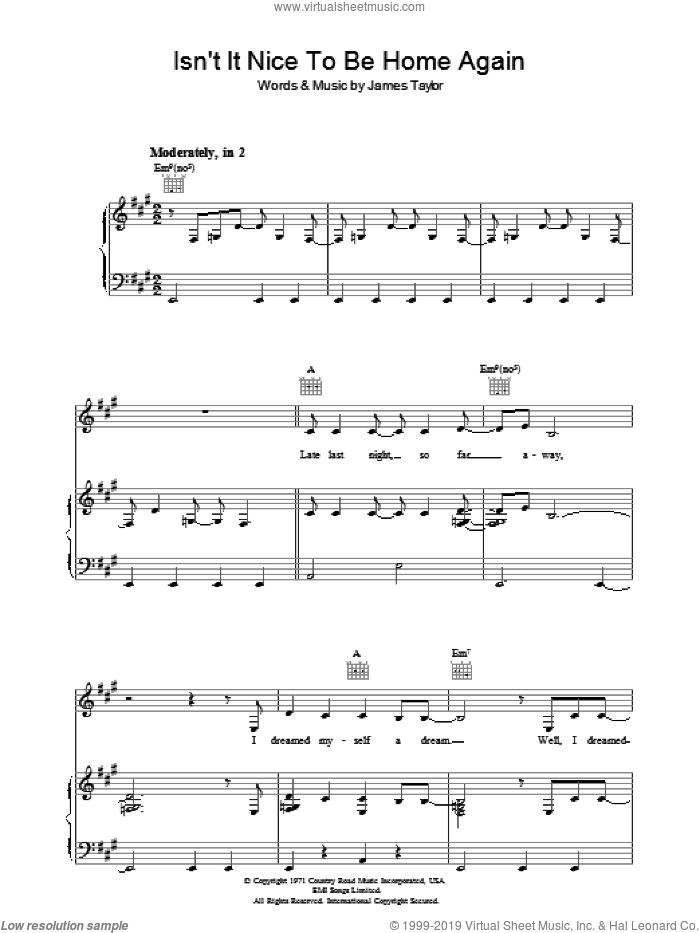 Isn't It Nice To Be Home Again sheet music for voice, piano or guitar by James Taylor. Score Image Preview.