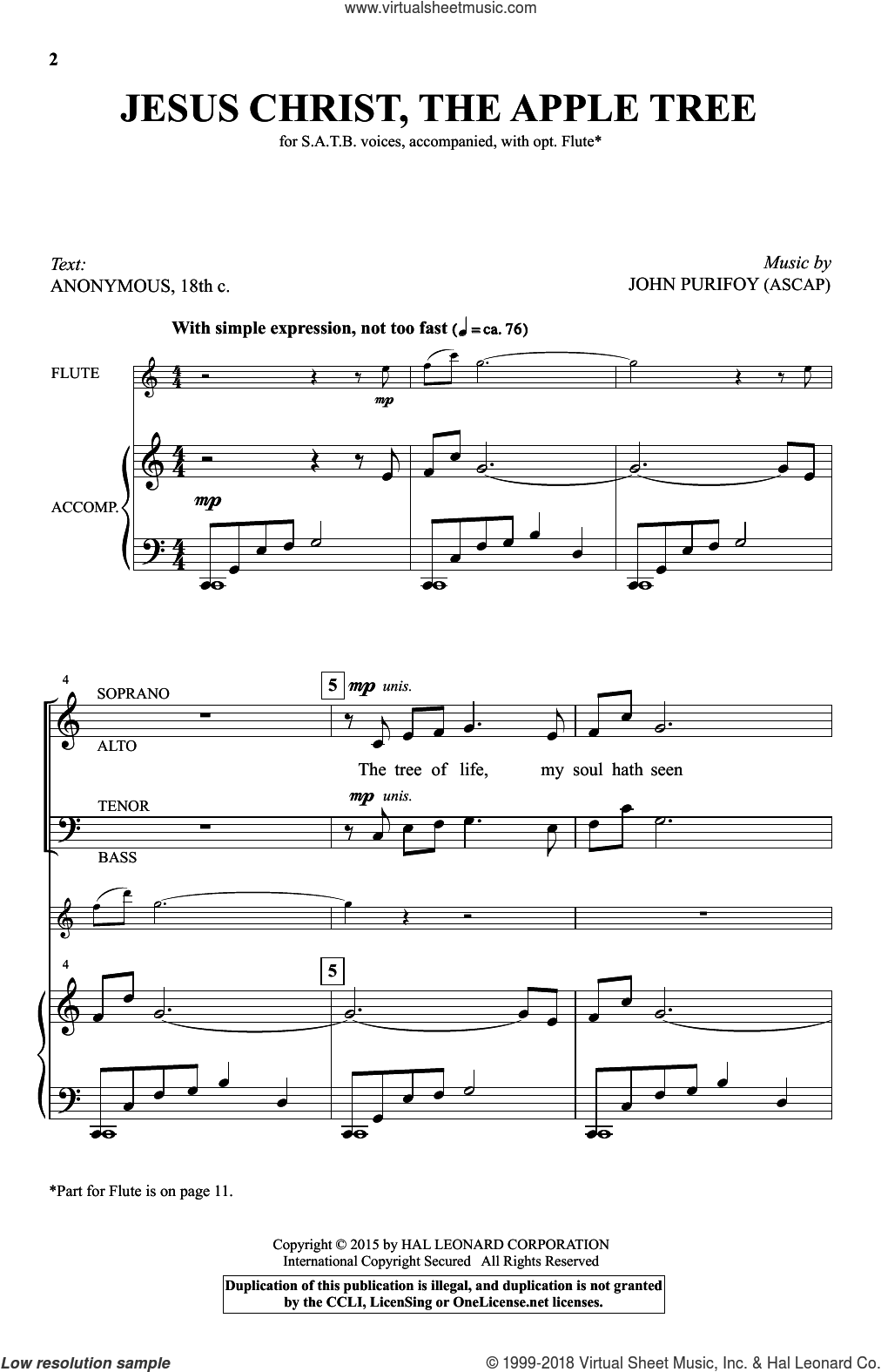 Jesus Christ, The Apple Tree sheet music for choir (SATB) by John Purifoy. Score Image Preview.