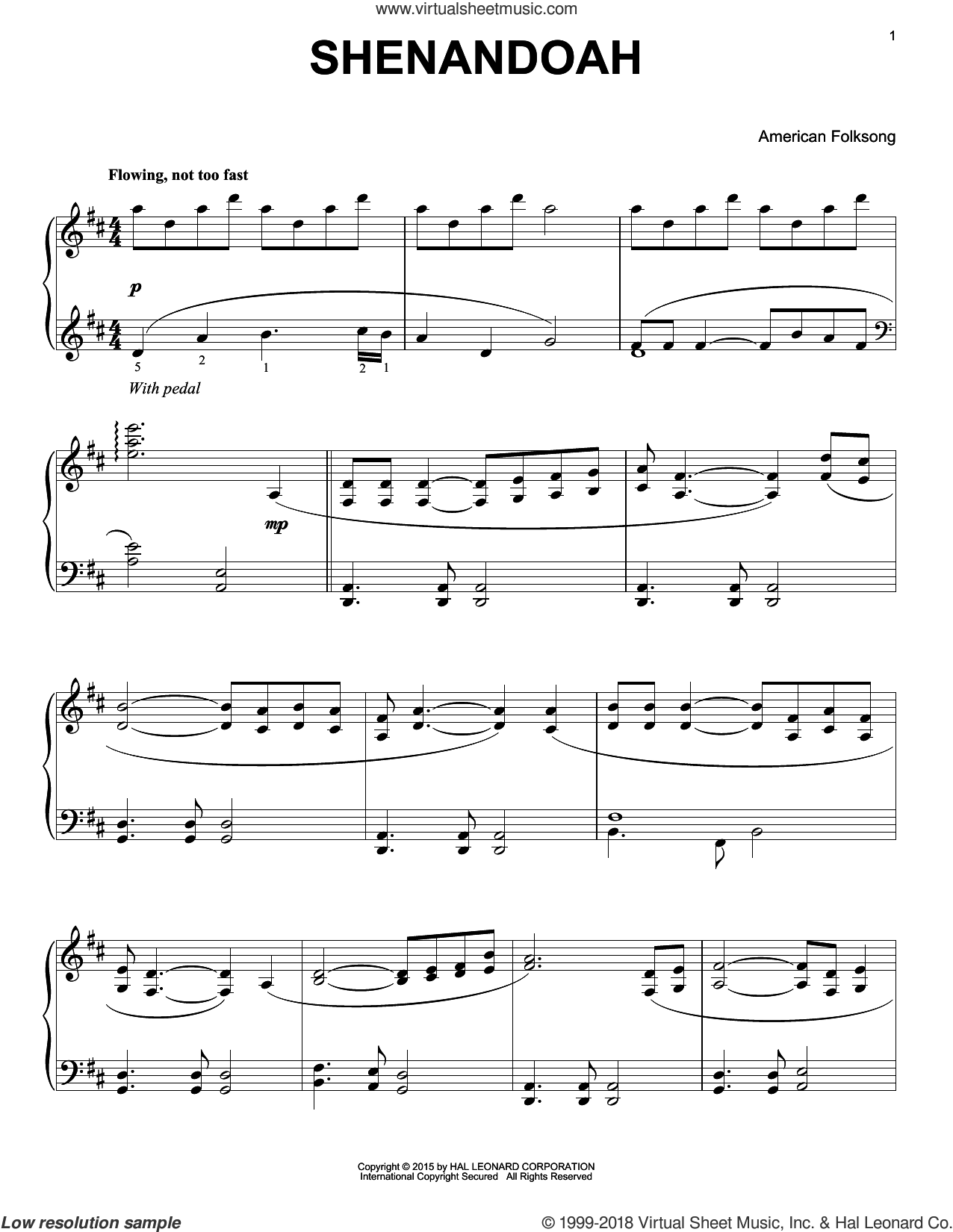 Shenandoah sheet music for piano solo by American Folksong, intermediate. Score Image Preview.