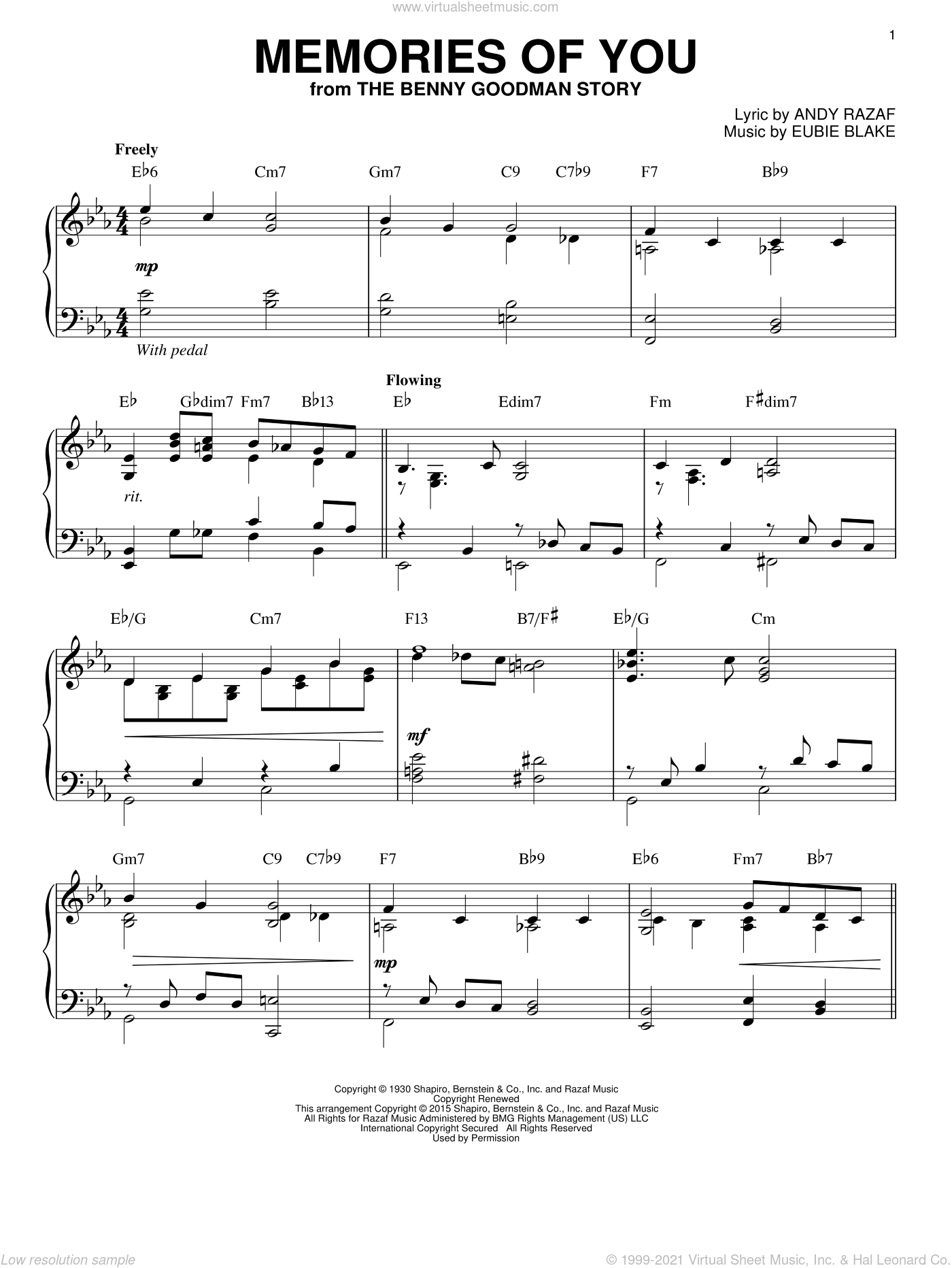 Memories Of You sheet music for piano solo by Andy Razaf and Eubie Blake, intermediate skill level