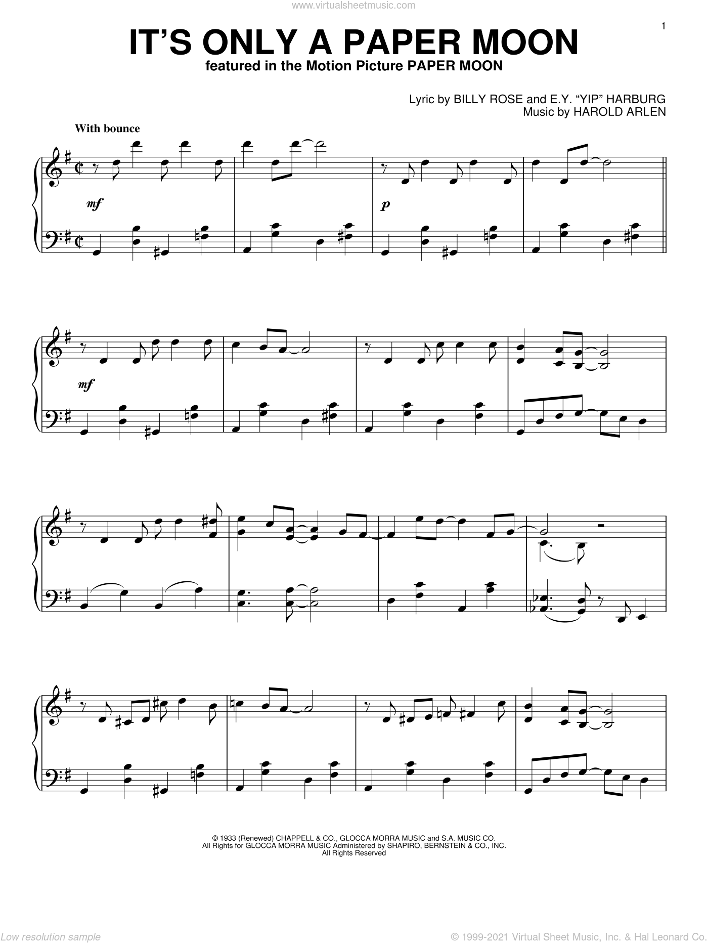 It's Only A Paper Moon sheet music for piano solo by Harold Arlen, Billy Rose and E.Y. Harburg, intermediate skill level