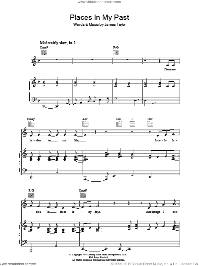 Places In My Past sheet music for voice, piano or guitar by James Taylor, intermediate skill level
