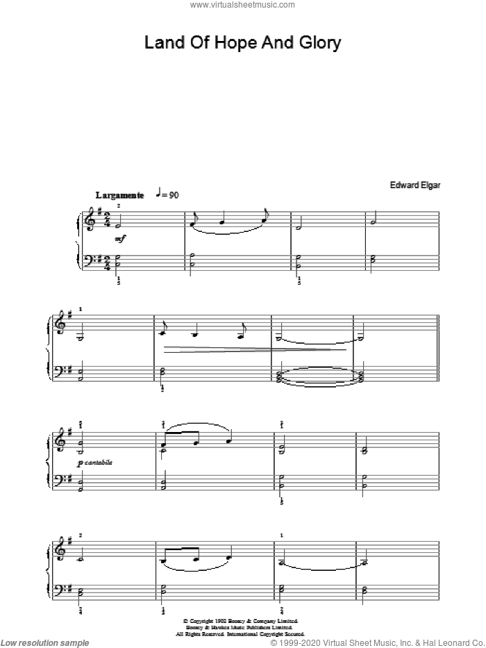 Land Of Hope And Glory (Pomp And Circumstance, March No. 1) (English National Anthem) sheet music for piano solo by Arthur Benson and Edward Elgar. Score Image Preview.