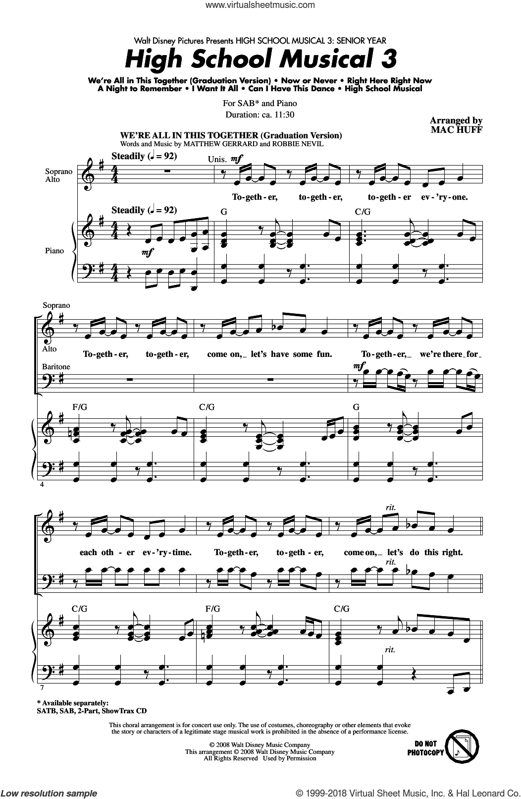 High School Musical 3 (Choral Medley) sheet music for choir (SAB) by Mac Huff, Matthew Gerrard and Robbie Nevil. Score Image Preview.