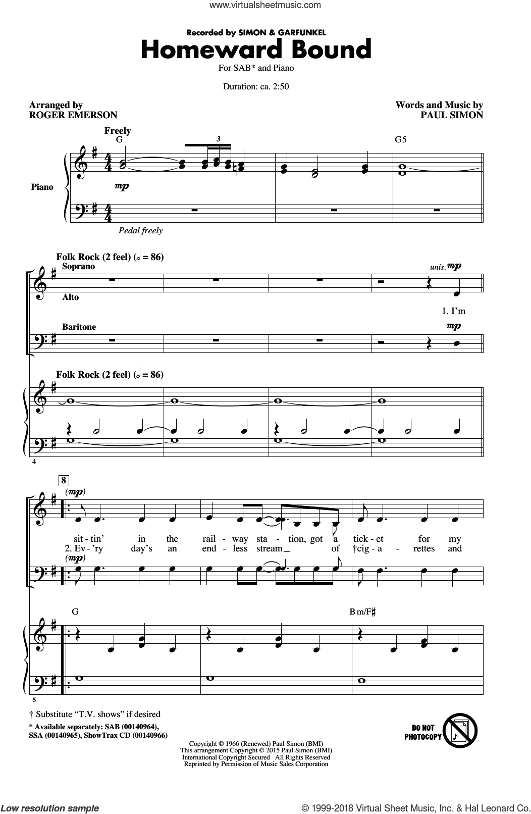 Homeward Bound sheet music for choir (SAB) by Roger Emerson, Paul Simon and Simon & Garfunkel. Score Image Preview.
