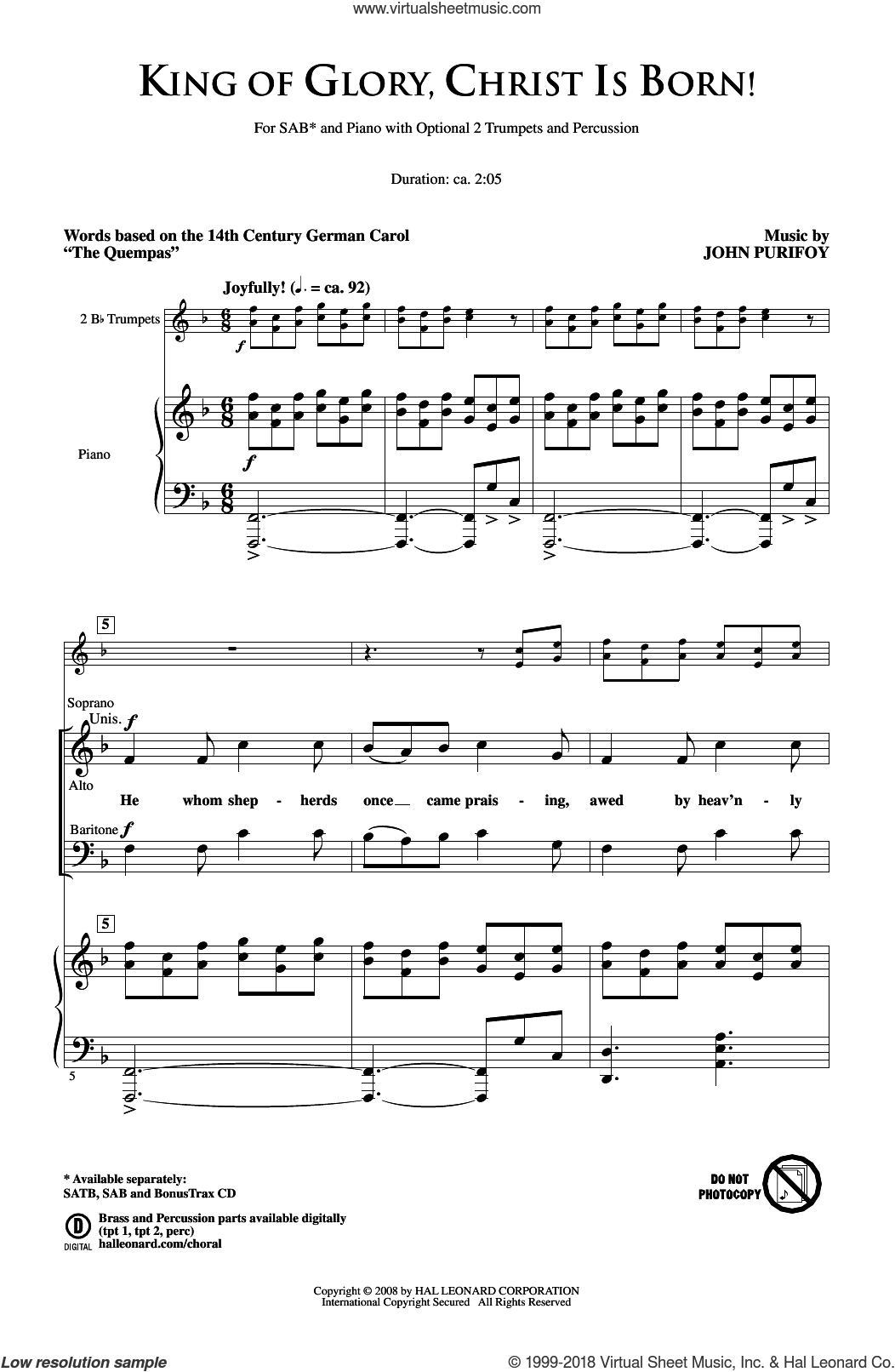 King Of Glory, Christ Is Born! sheet music for choir (SAB) by John Purifoy and Miscellaneous, Christmas carol score, intermediate choir (SAB). Score Image Preview.