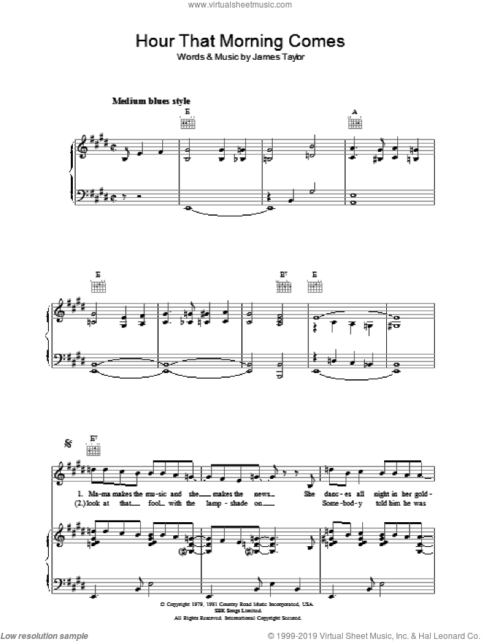 Hour That Morning Comes sheet music for voice, piano or guitar by James Taylor
