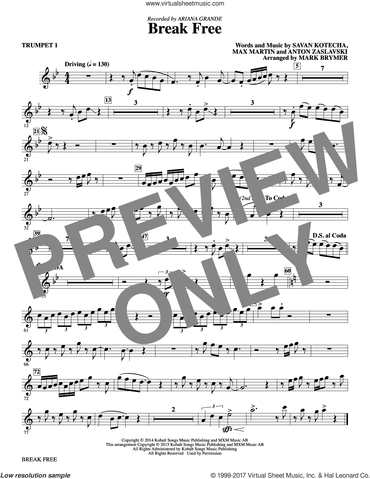 Break Free (complete set of parts) sheet music for orchestra/band by Mark Brymer, Anton Zaslavski, Ariana Grande, Ariana Grande feat. Zedd, Max Martin and Savan Kotecha, intermediate skill level