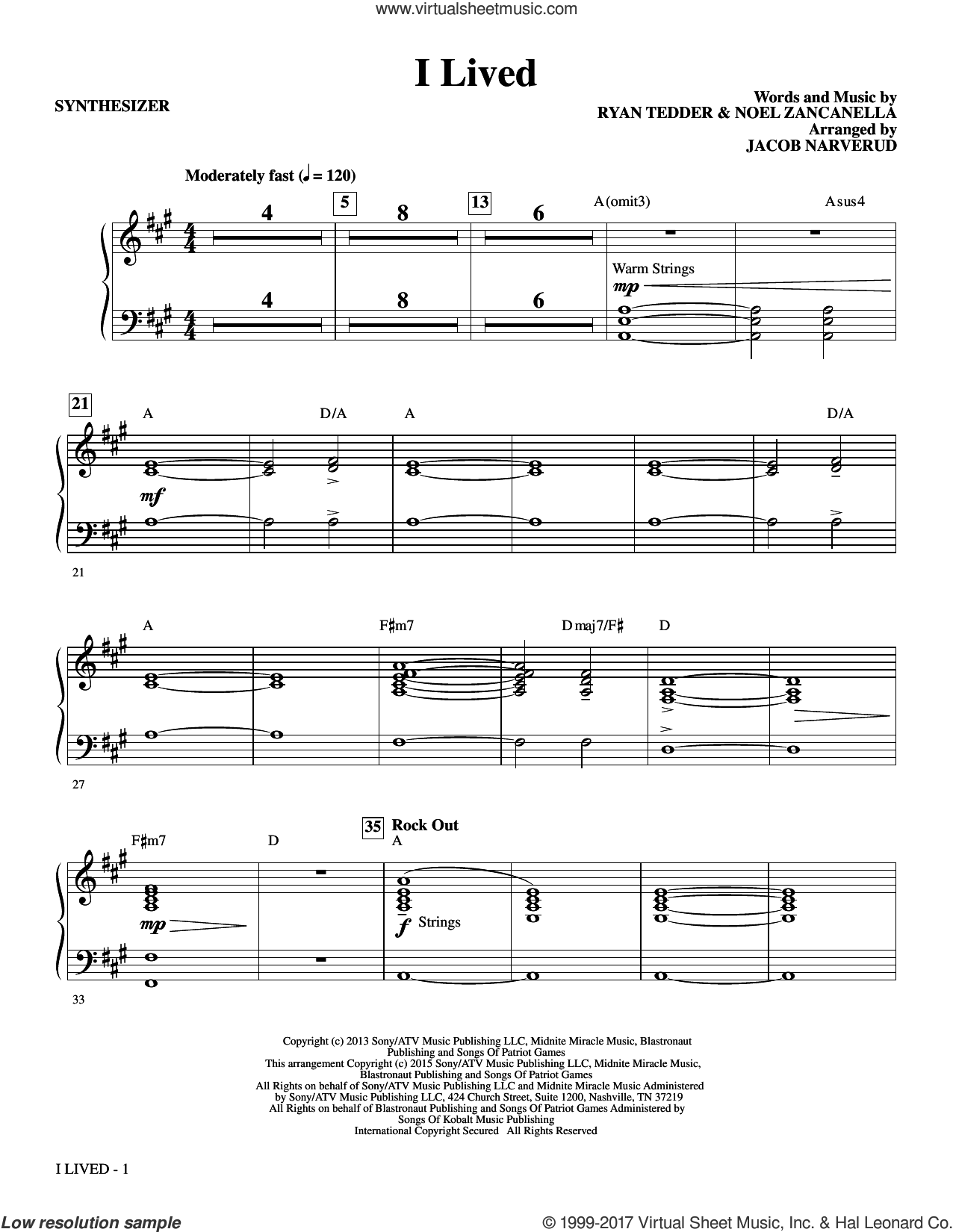 I Lived (complete set of parts) sheet music for orchestra/band by OneRepublic, Jacob Narverud, Noel Zancanella and Ryan Tedder, intermediate