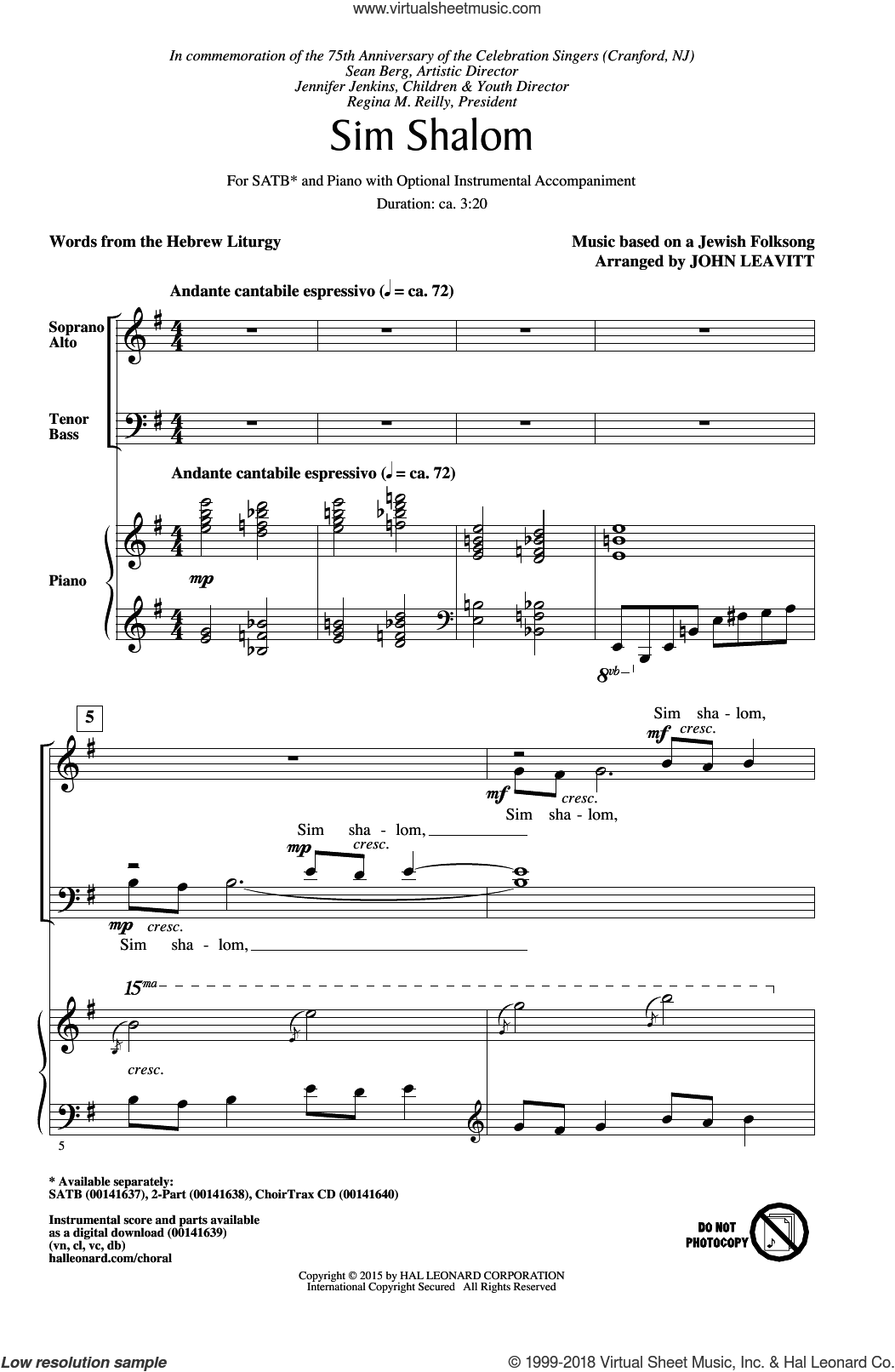 Sim Shalom sheet music for choir and piano (SATB) by Jewish Folksong and John Leavitt. Score Image Preview.