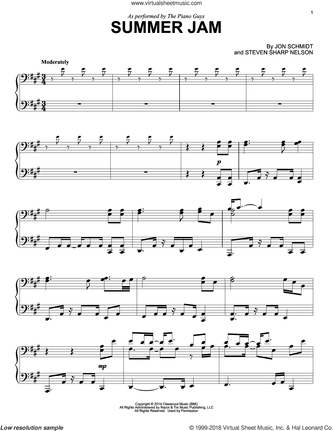 Summer Jam sheet music for piano solo by The Piano Guys, Jon Schmidt and Steven Sharp Nelson, intermediate skill level