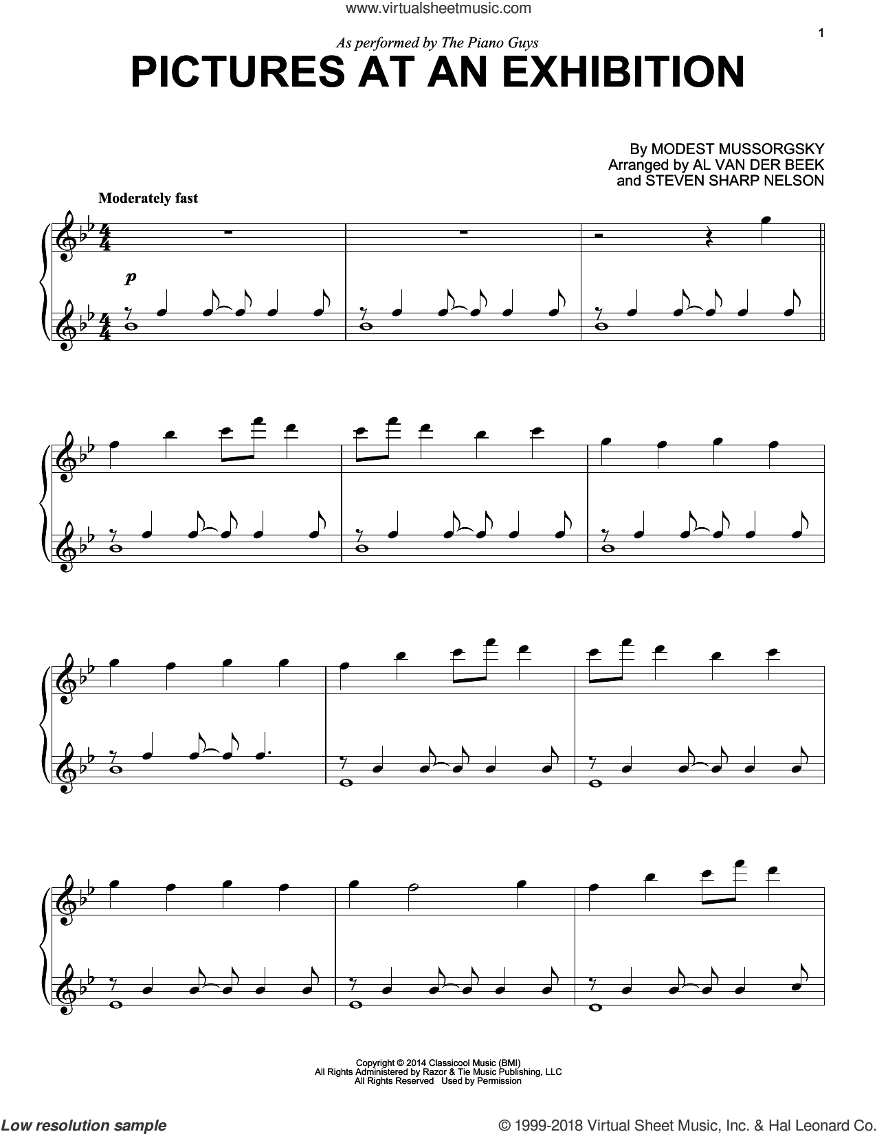 Pictures At An Exhibition sheet music for piano solo by The Piano Guys, Al van der Beek, Modest Petrovic Mussorgsky and Steven Sharp Nelson, intermediate skill level