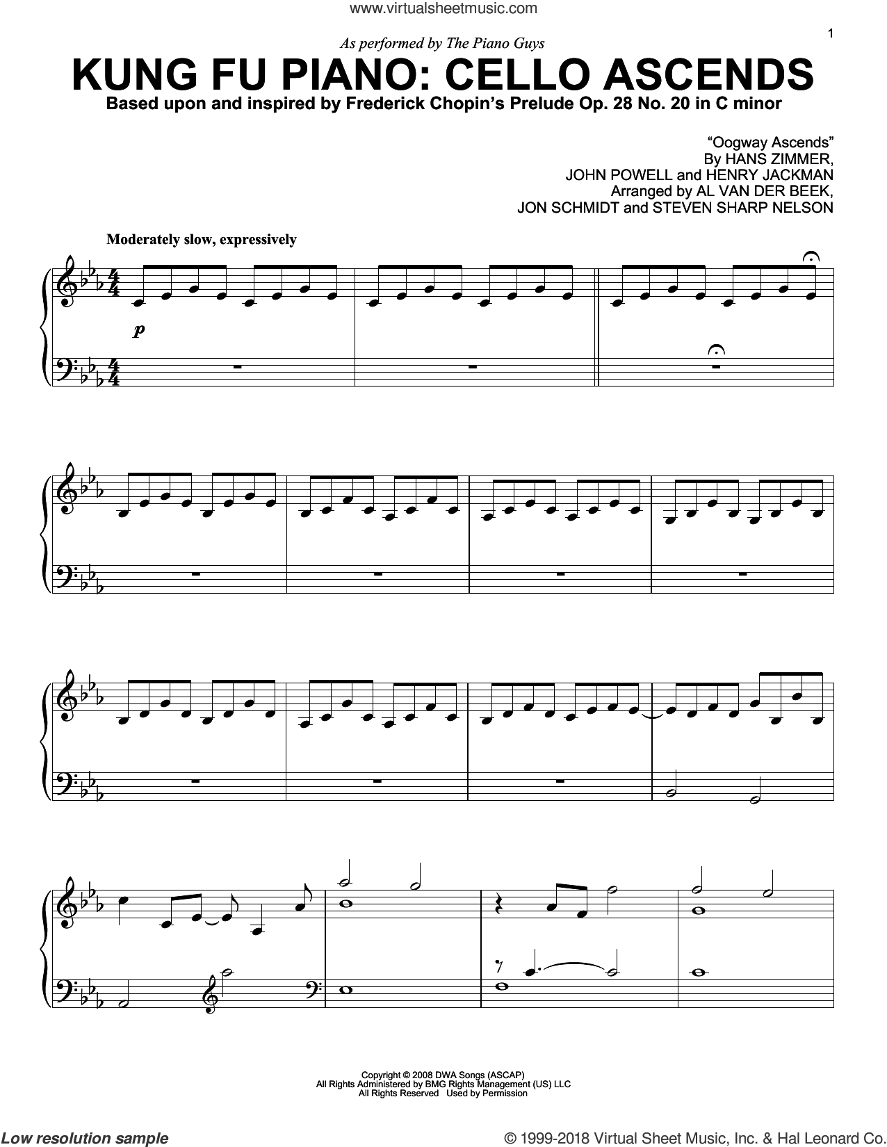 Kung Fu Piano: Cello Ascends sheet music for piano solo by The Piano Guys, Al van der Beek, Frederick Chopin, Hans Zimmer, Henry Jackman, John Powell, Jon Schmidt and Steven Sharp Nelson, intermediate skill level