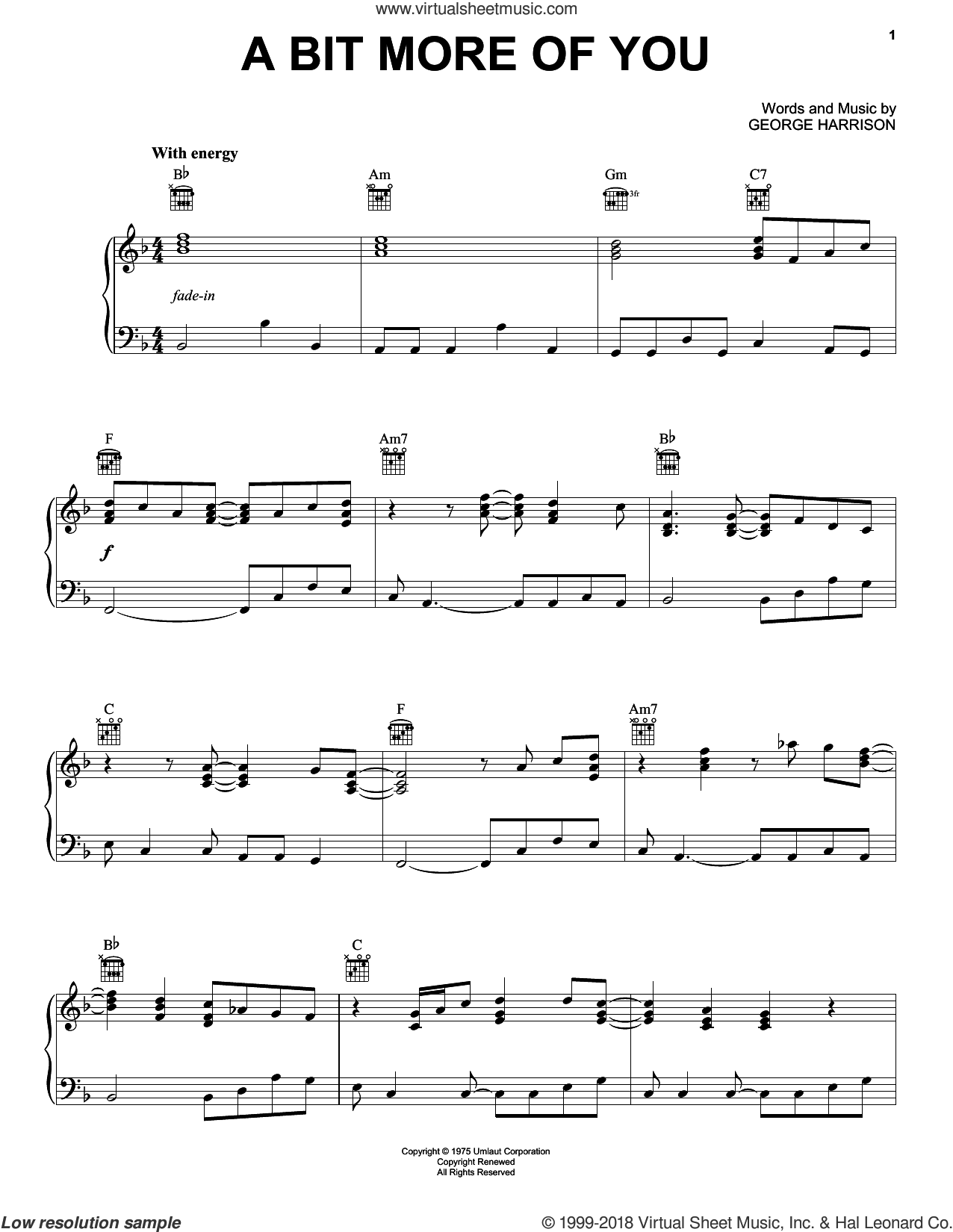 A Bit More Of You sheet music for piano solo by George Harrison. Score Image Preview.