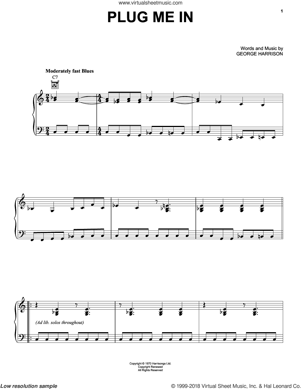 Plug Me In sheet music for piano solo by George Harrison, intermediate skill level