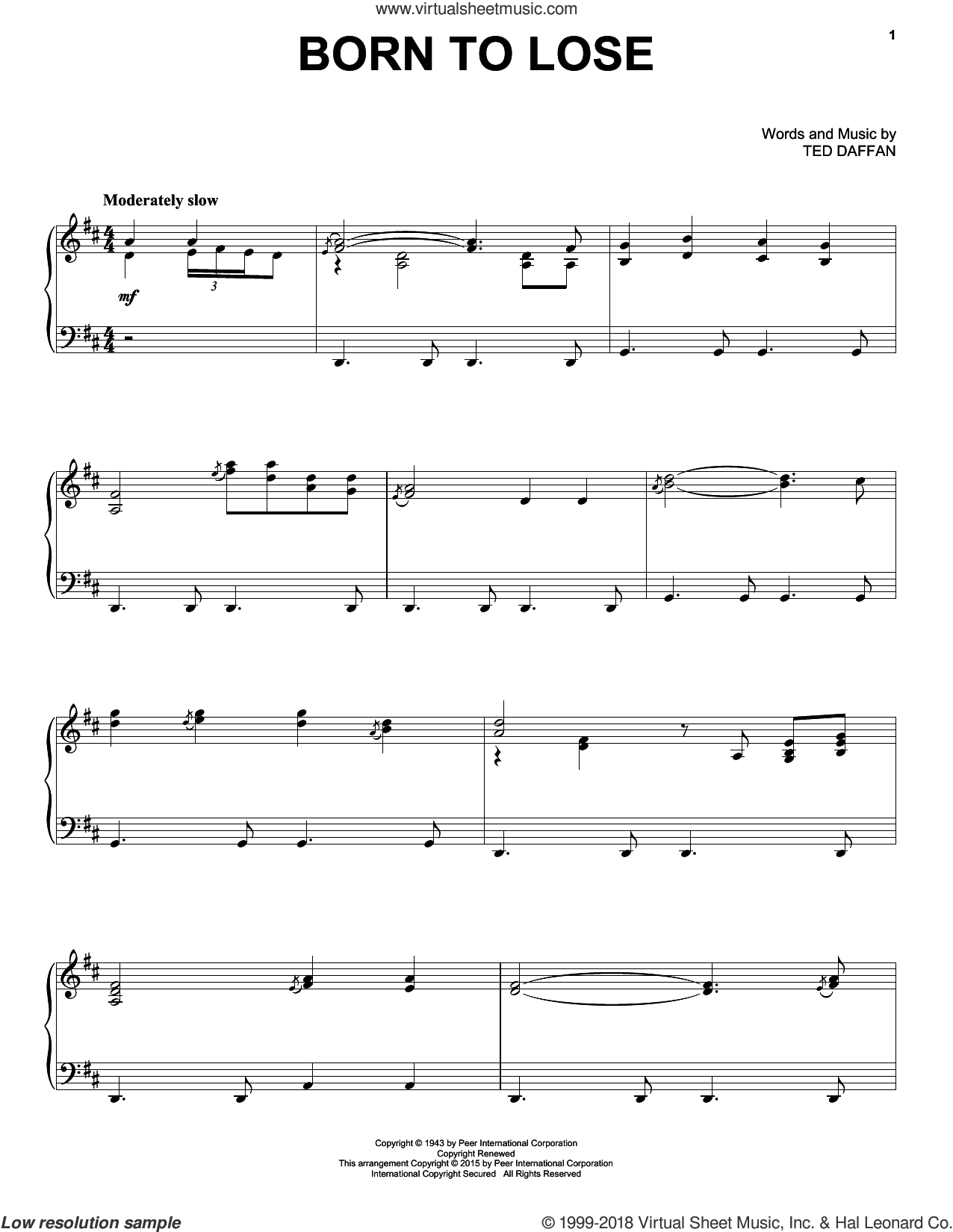 Born To Lose sheet music for piano solo by Ray Charles and Ted Daffan, intermediate skill level