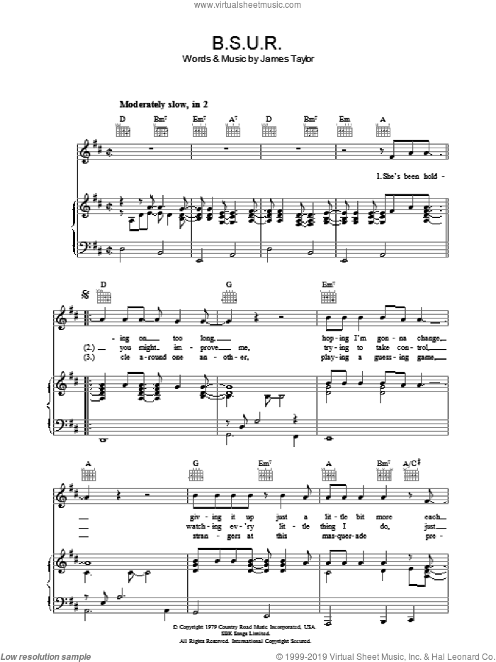 B.S.U.R. sheet music for voice, piano or guitar by James Taylor, intermediate. Score Image Preview.