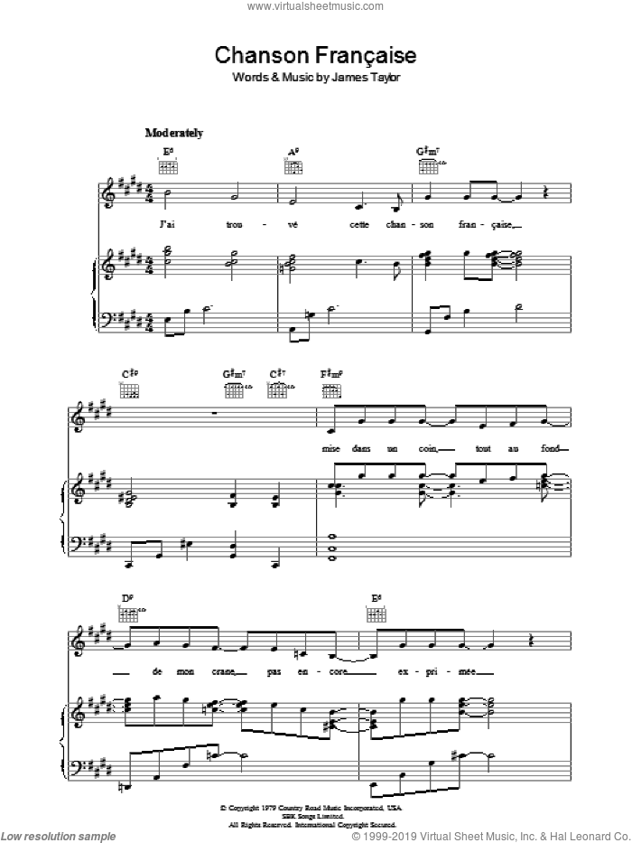 Chanson Francaise sheet music for voice, piano or guitar by James Taylor. Score Image Preview.