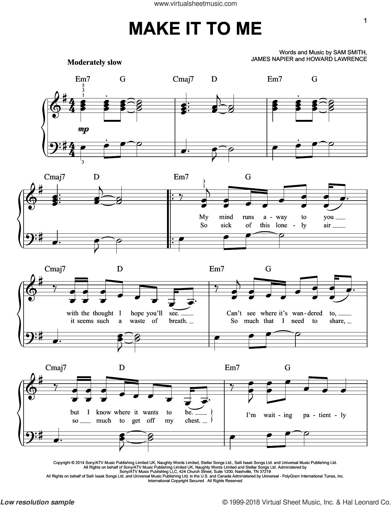 Make It To Me sheet music for piano solo by Sam Smith, Howard Lawrence and James Napier, easy skill level