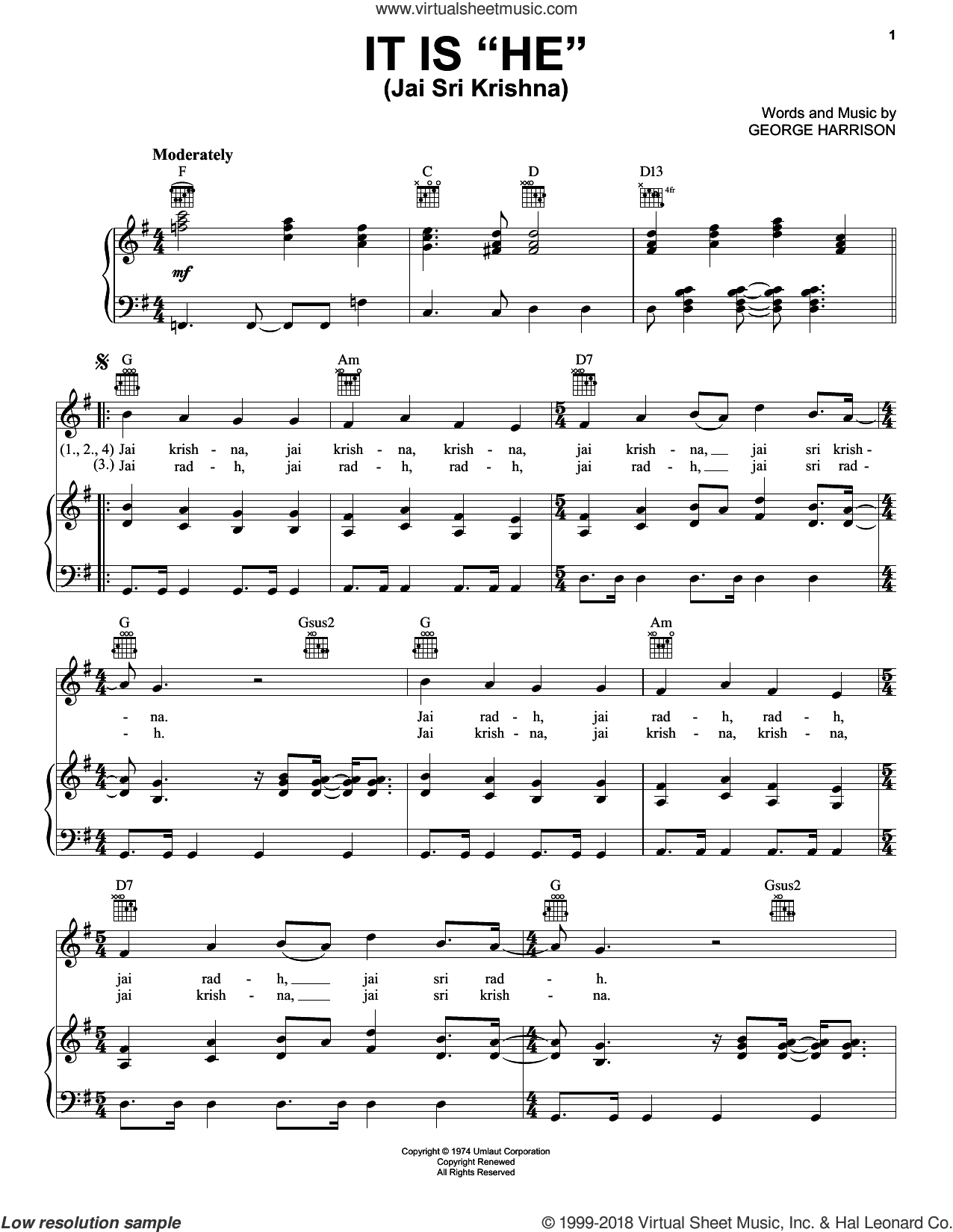 It Is 'He' (Jai Sri Krishna) sheet music for voice, piano or guitar by George Harrison, intermediate skill level