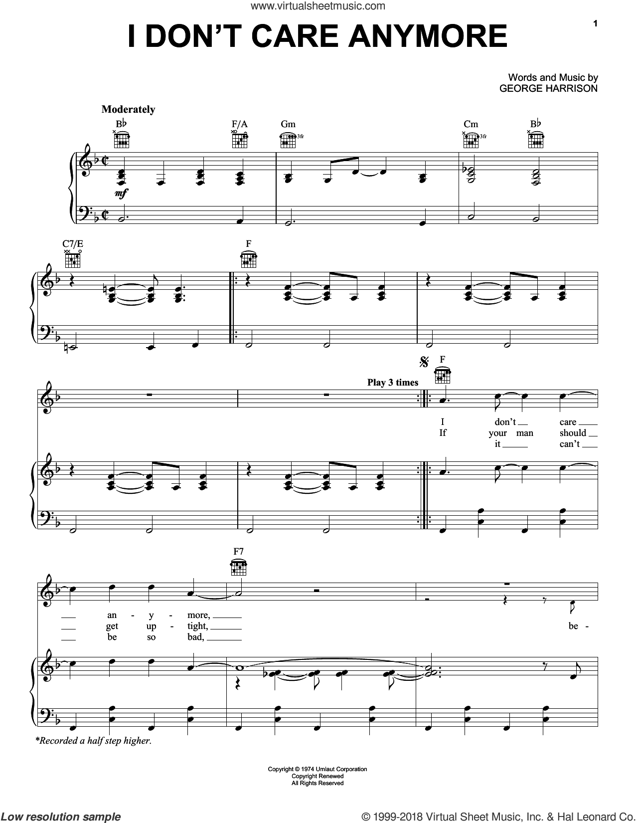 I Don't Care Anymore sheet music for voice, piano or guitar by George Harrison, intermediate skill level