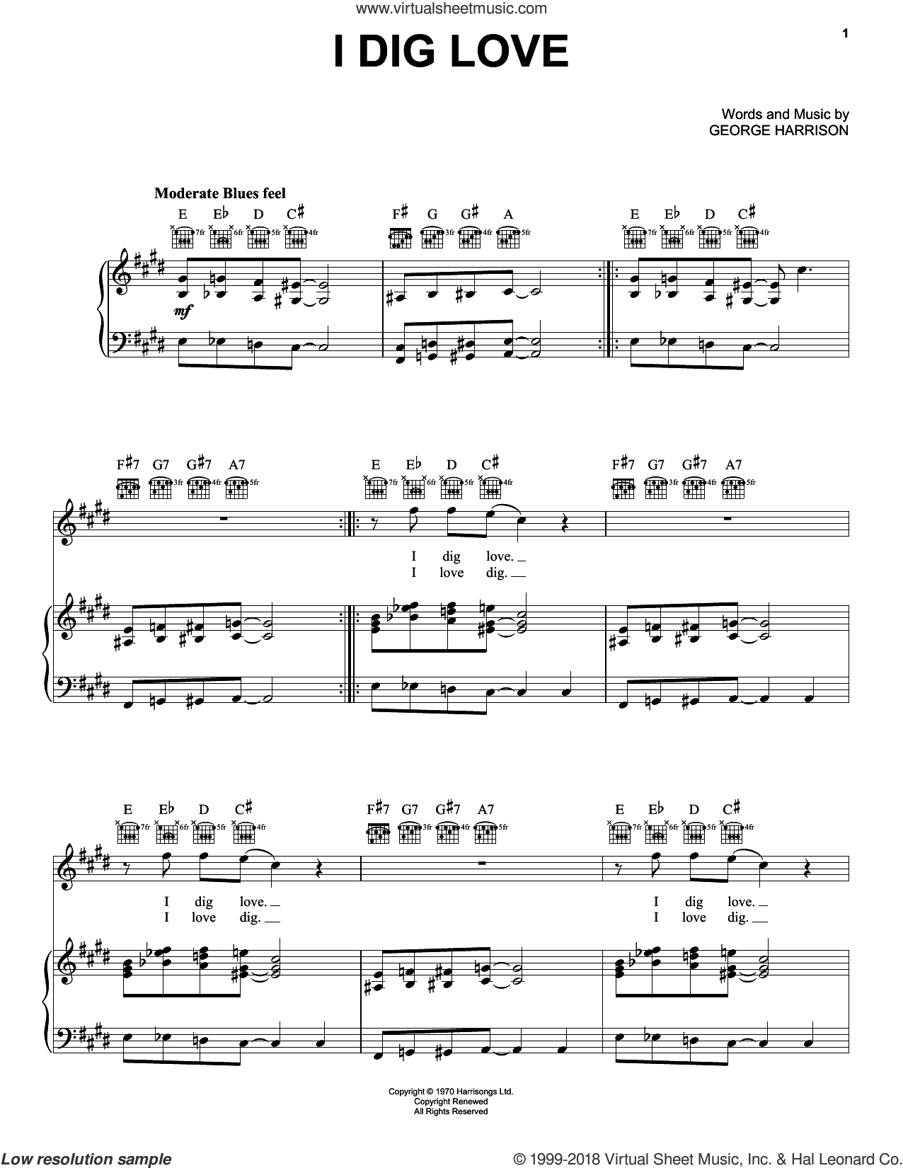 I Dig Love sheet music for voice, piano or guitar by George Harrison, intermediate skill level