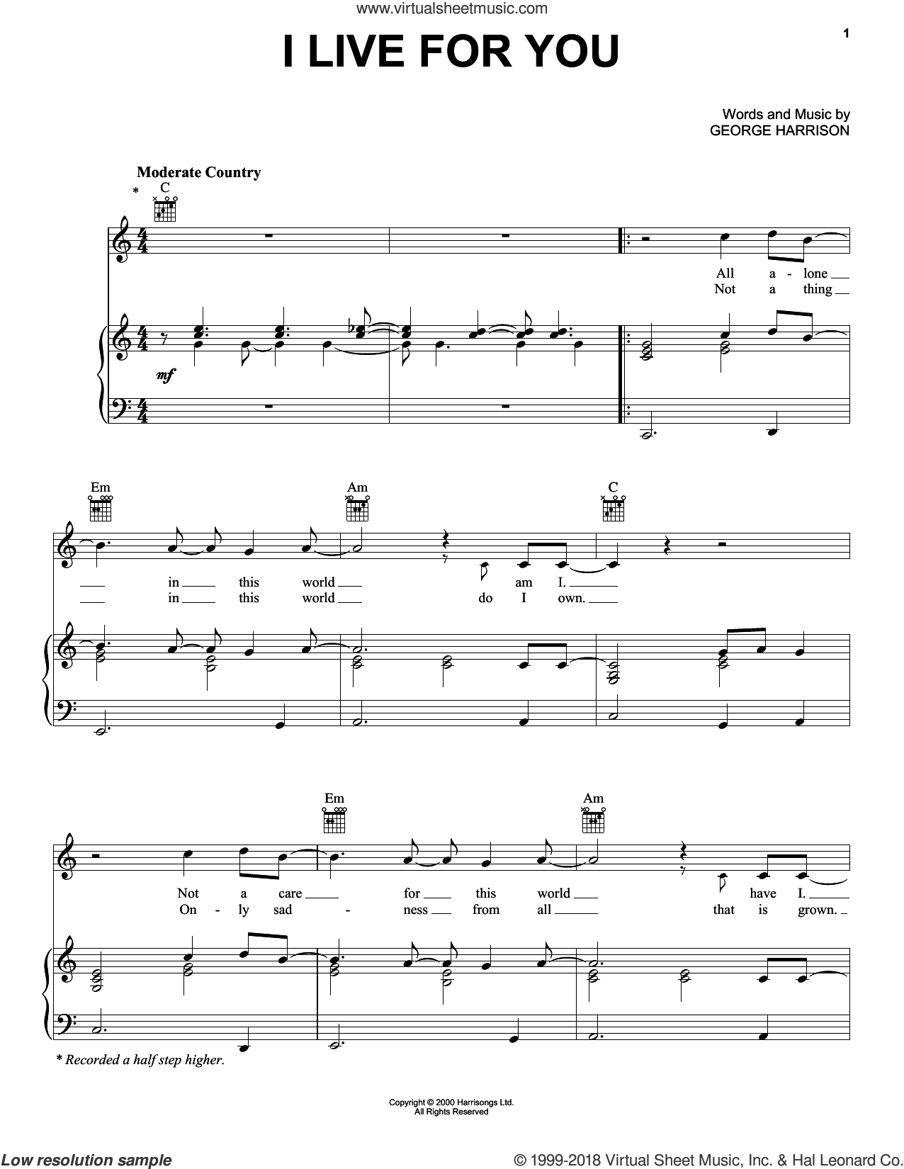 I Live For You sheet music for voice, piano or guitar by George Harrison. Score Image Preview.