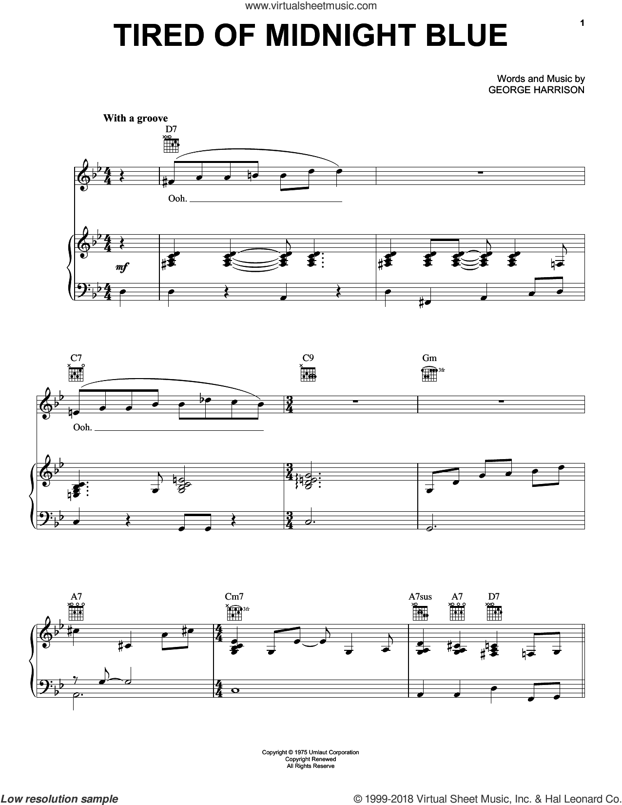 Tired Of Midnight Blue sheet music for voice, piano or guitar by George Harrison, intermediate