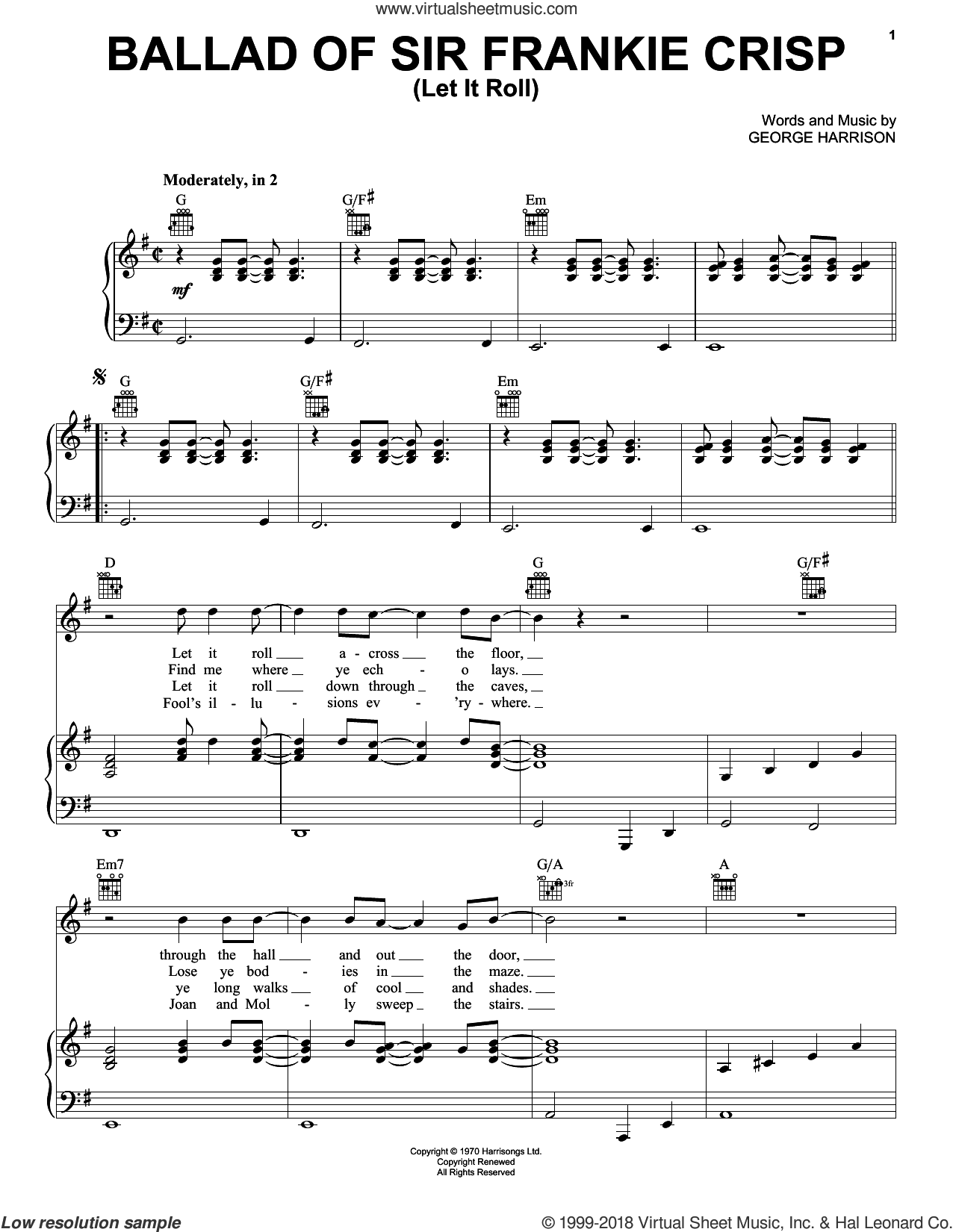Ballad Of Sir Frankie Crisp (Let It Roll) sheet music for voice, piano or guitar by George Harrison. Score Image Preview.