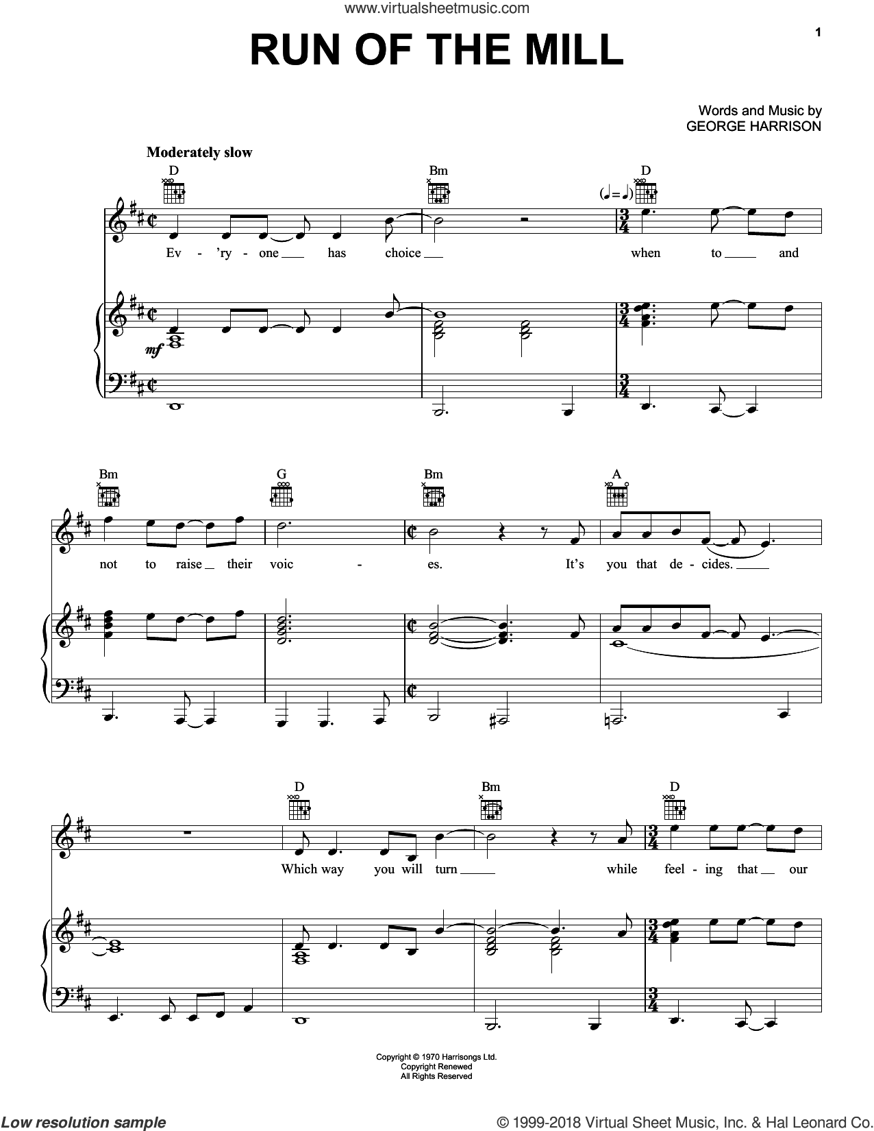 Run Of The Mill sheet music for voice, piano or guitar by George Harrison, intermediate skill level