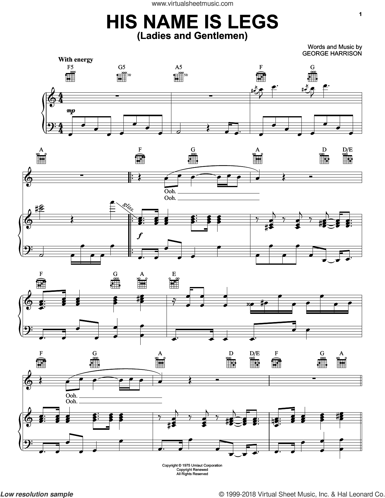 His Name Is Legs (Ladies And Gentlemen) sheet music for voice, piano or guitar by George Harrison, intermediate skill level
