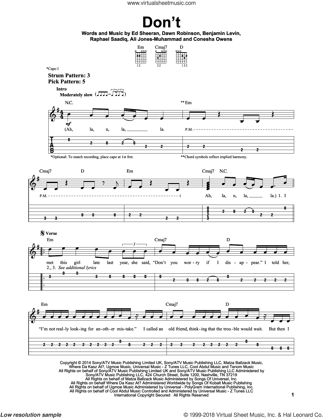 Don't sheet music for guitar solo (easy tablature) by Raphael Saadiq, Ali Jones-Muhammad, Benjamin Levin and Ed Sheeran. Score Image Preview.