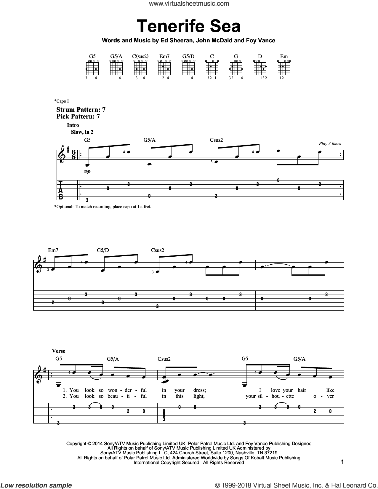 Tenerife Sea sheet music for guitar solo (easy tablature) by Ed Sheeran, Foy Vance and John McDaid, easy guitar (easy tablature)