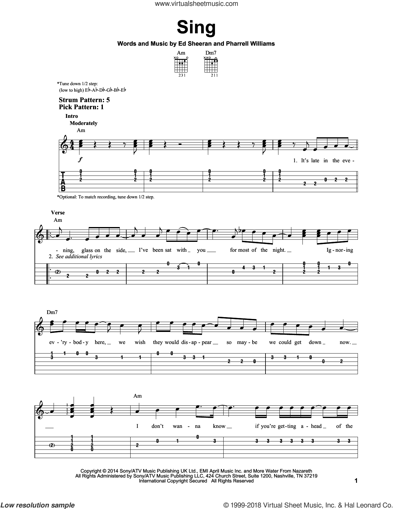 Sing sheet music for guitar solo (easy tablature) by Pharrell Williams and Ed Sheeran. Score Image Preview.