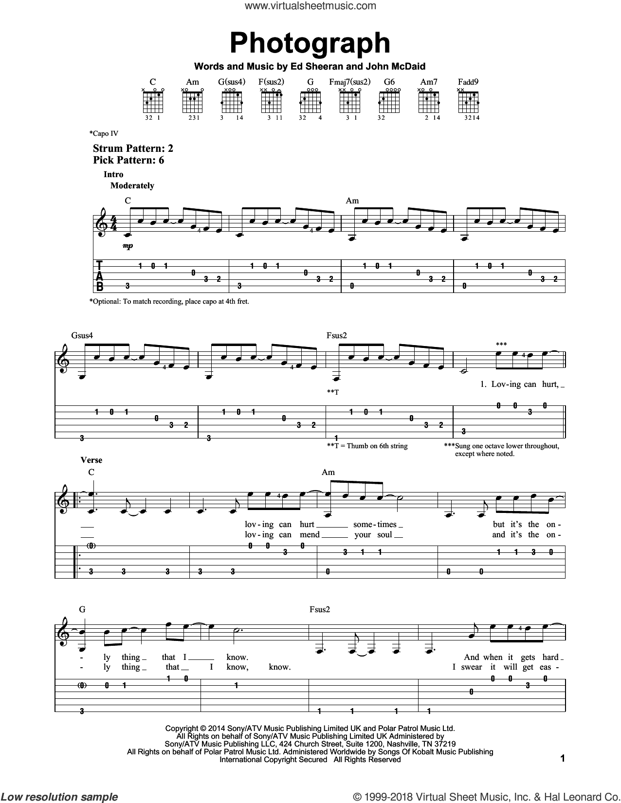 Photograph sheet music for guitar solo (easy tablature) by John McDaid and Ed Sheeran. Score Image Preview.