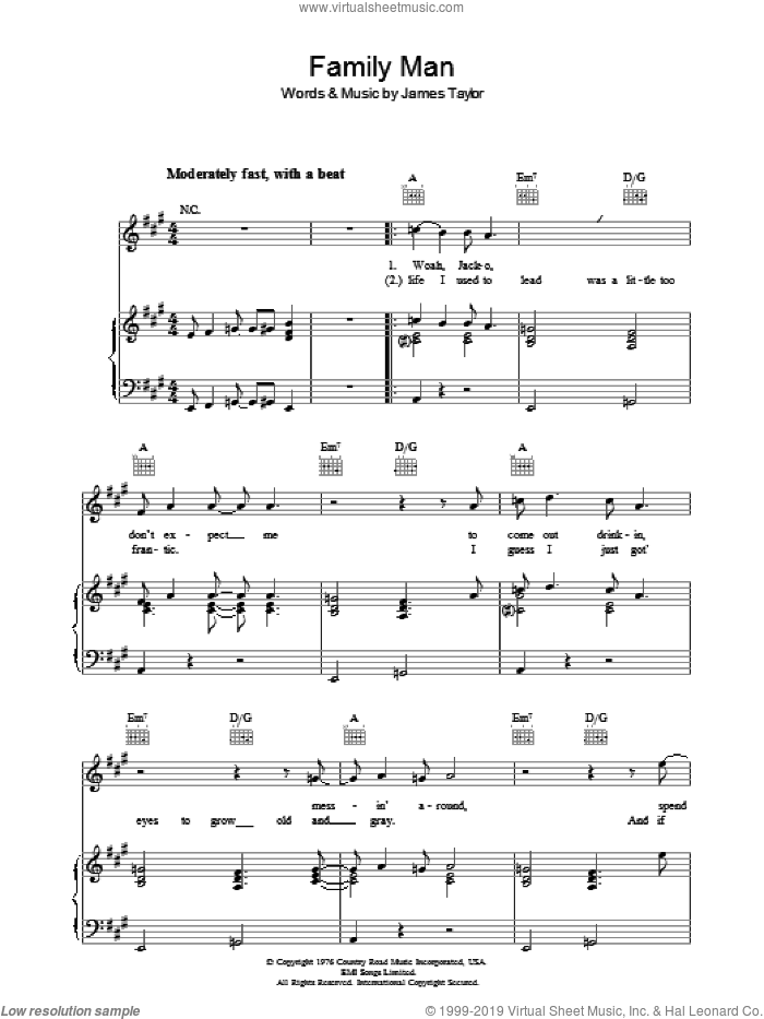 Family Man sheet music for voice, piano or guitar by James Taylor. Score Image Preview.
