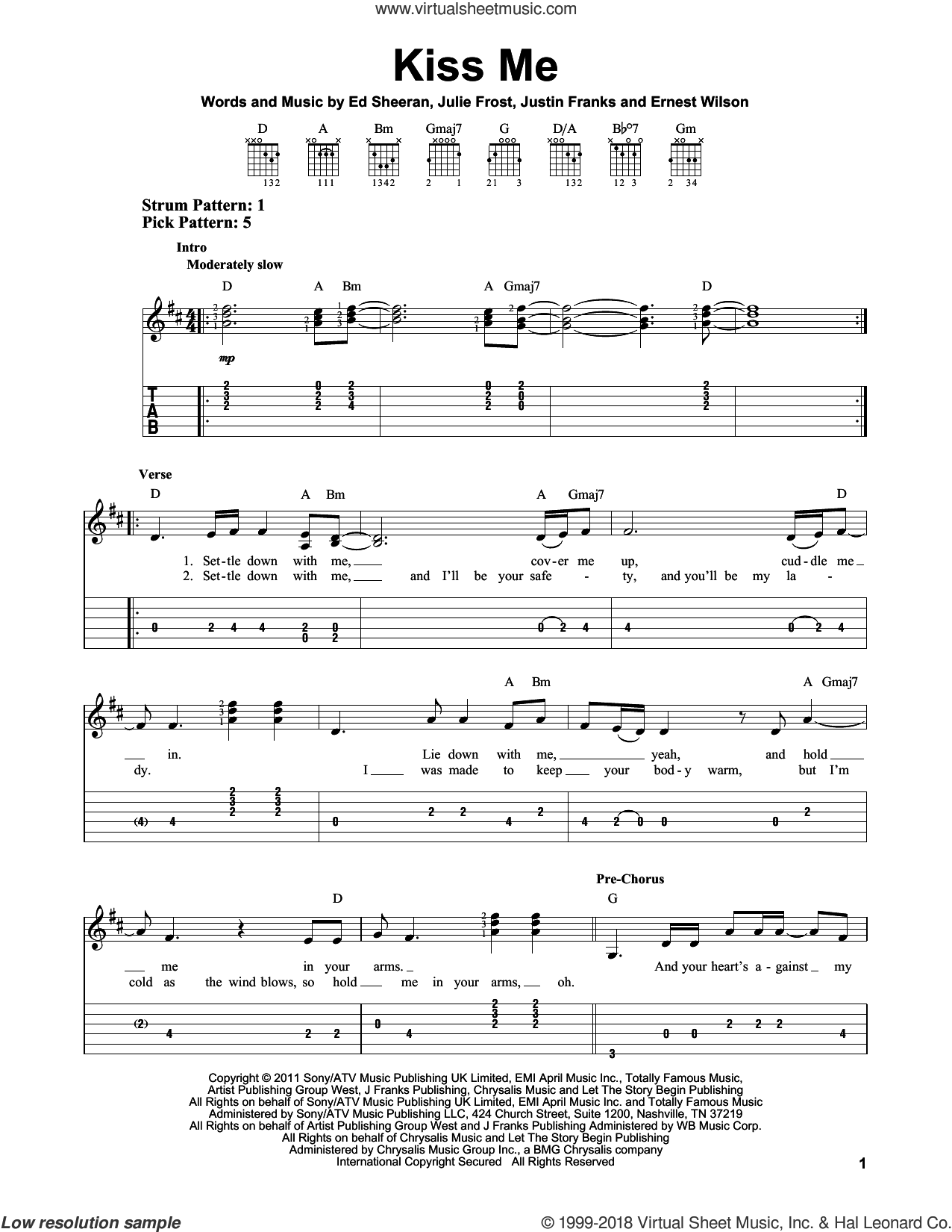 Kiss Me sheet music for guitar solo (easy tablature) by Justin Franks, Ed Sheeran and Julie Frost. Score Image Preview.