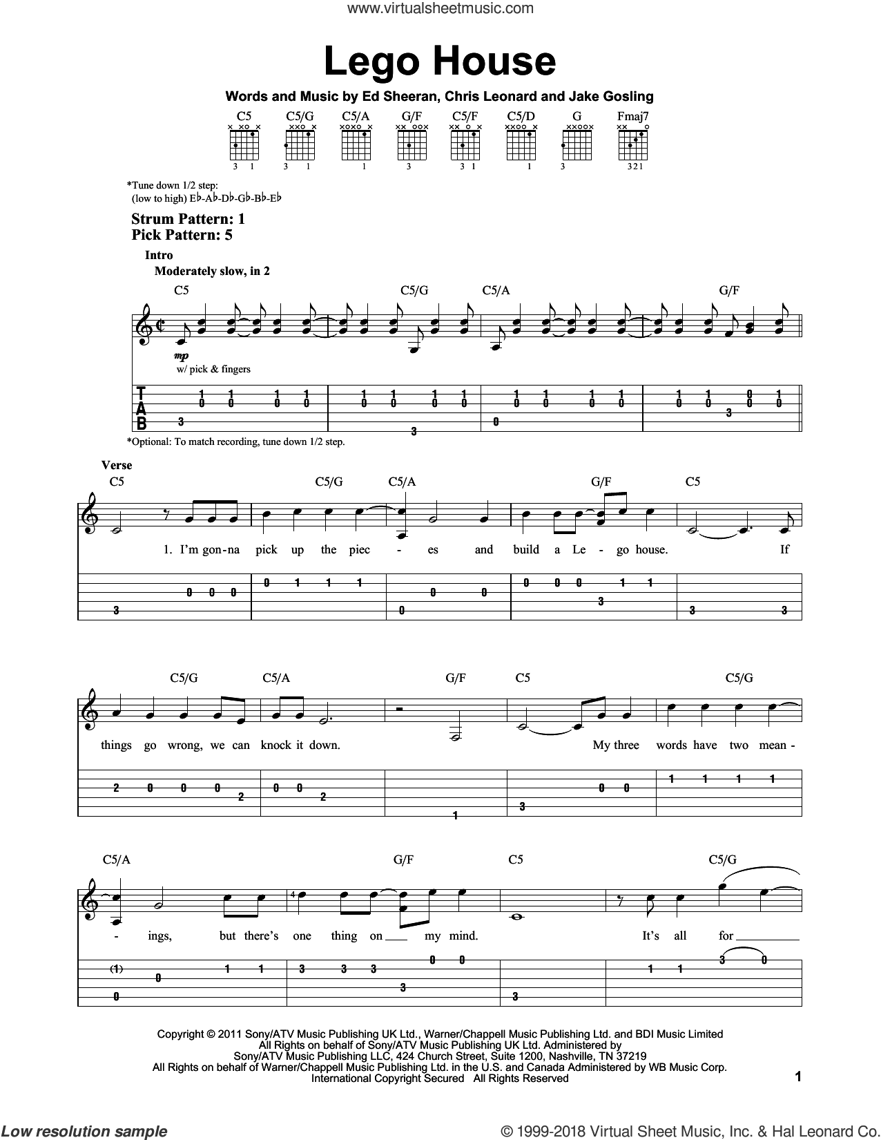 Lego House sheet music for guitar solo (easy tablature) by Ed Sheeran, Chris Leonard and Jake Gosling, easy guitar (easy tablature)