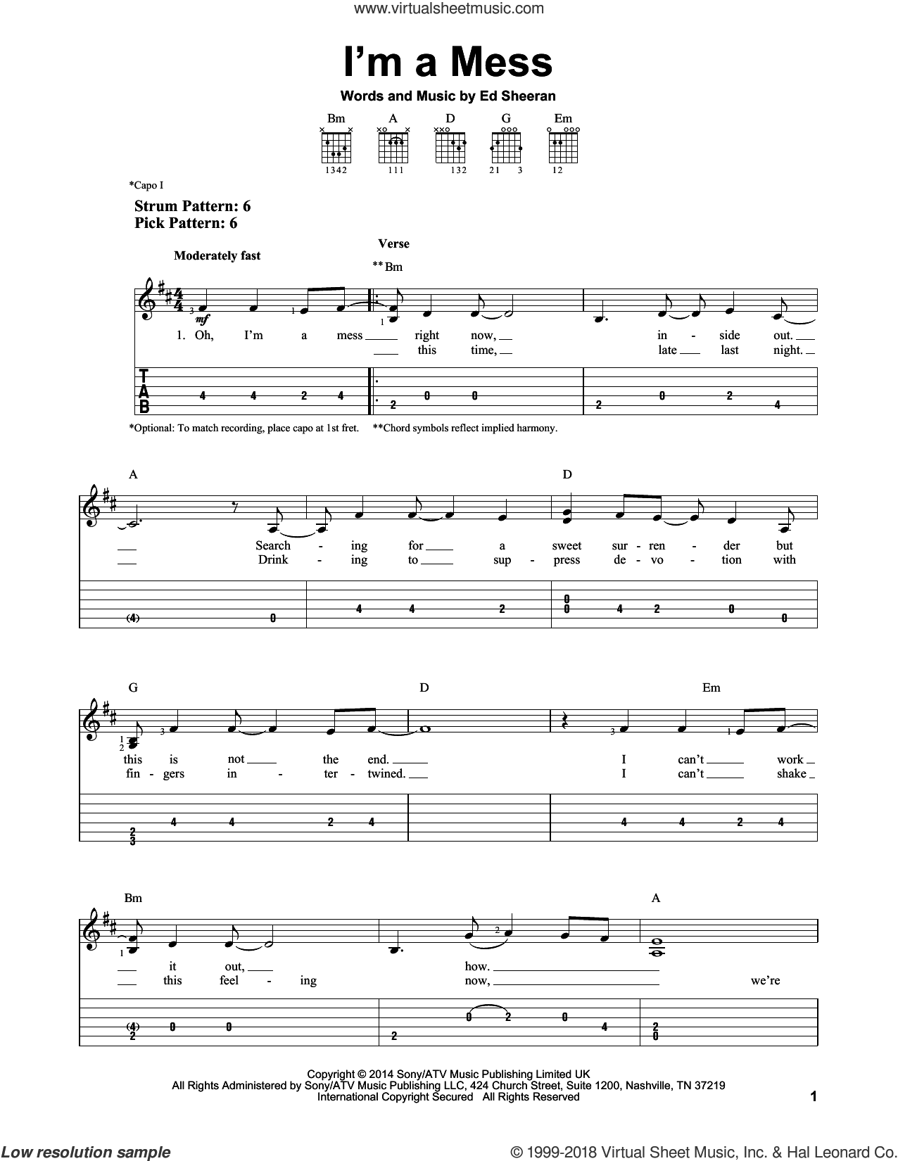 I'm A Mess sheet music for guitar solo (easy tablature) by Ed Sheeran