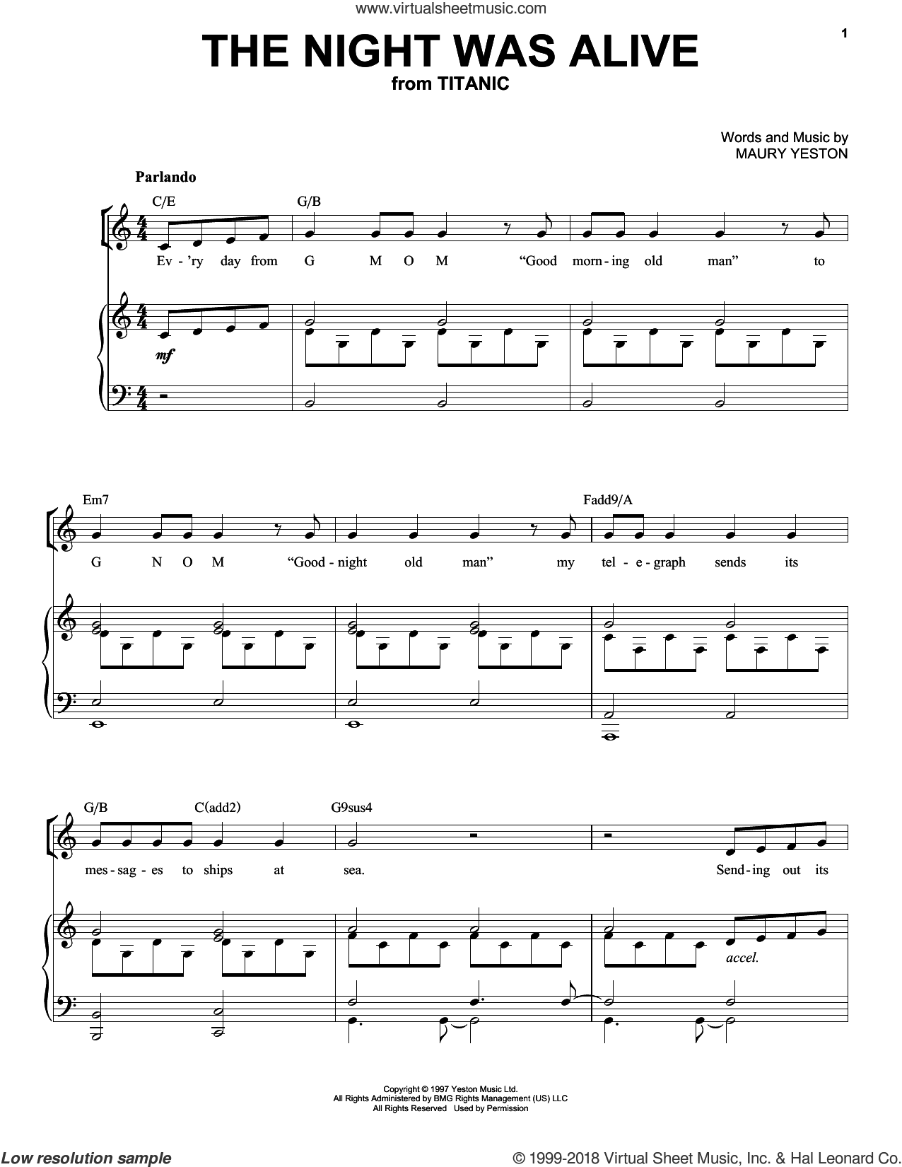 The Night Was Alive sheet music for voice, piano or guitar by Maury Yeston, intermediate skill level