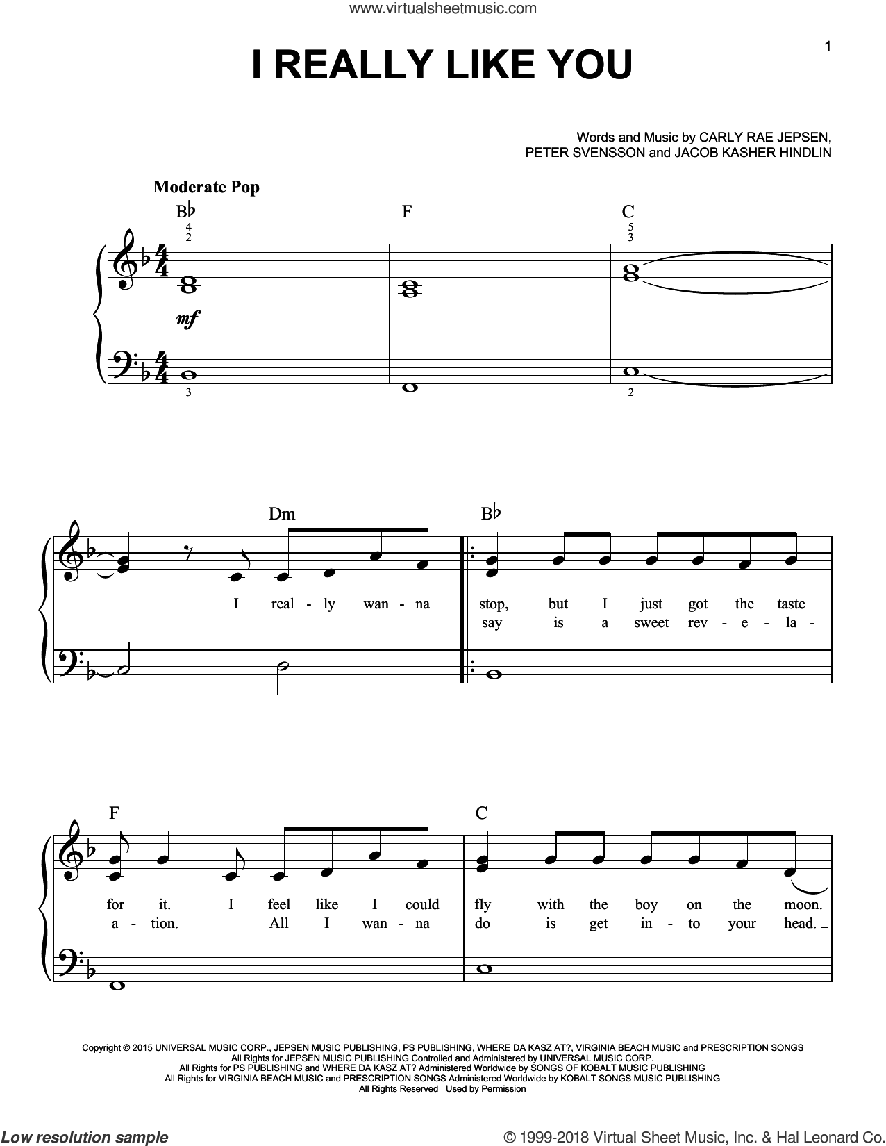 I Really Like You, (beginner) sheet music for piano solo by Carly Rae Jepsen, Jacob Kasher Hindlin and Peter Svensson, beginner