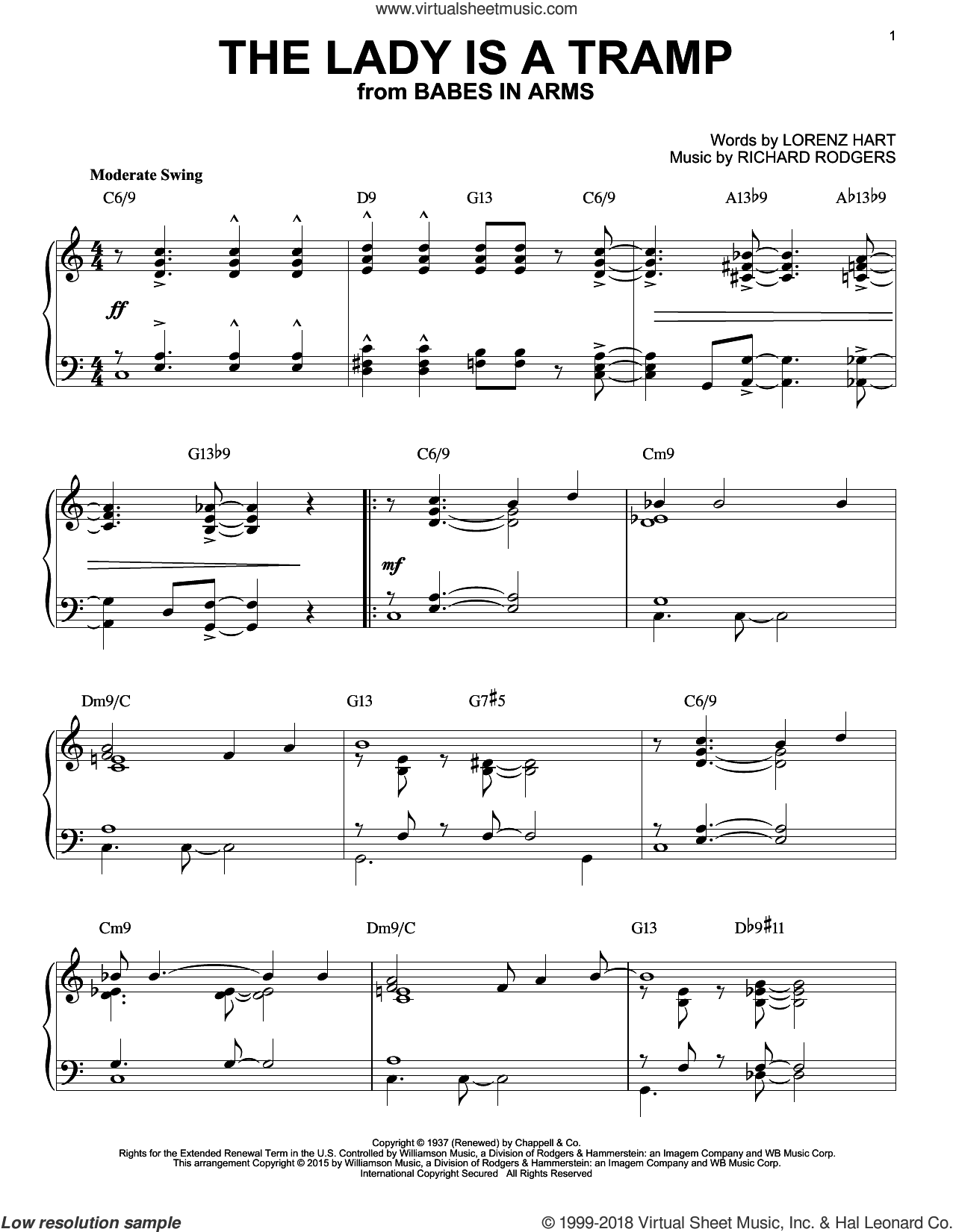 The Lady Is A Tramp [Jazz version] (arr. Brent Edstrom) sheet music for piano solo by Rodgers & Hart, Lorenz Hart and Richard Rodgers, intermediate skill level