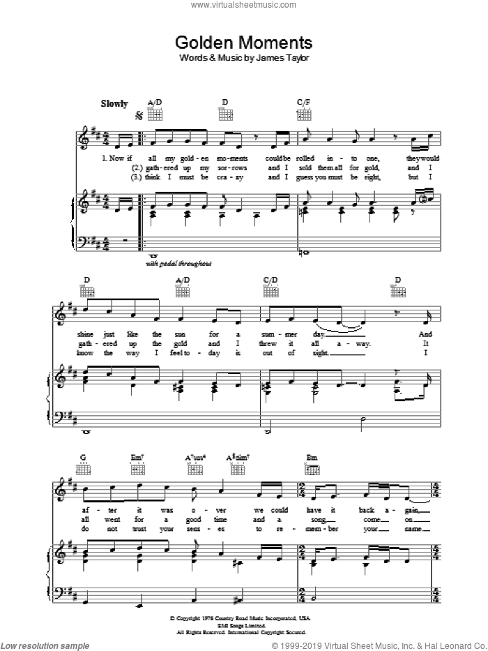 Golden Moments sheet music for voice, piano or guitar by James Taylor. Score Image Preview.
