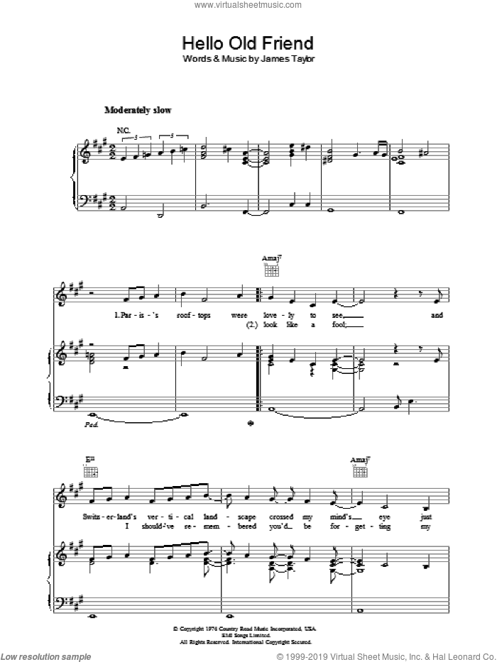 Hello Old Friend sheet music for voice, piano or guitar by James Taylor. Score Image Preview.