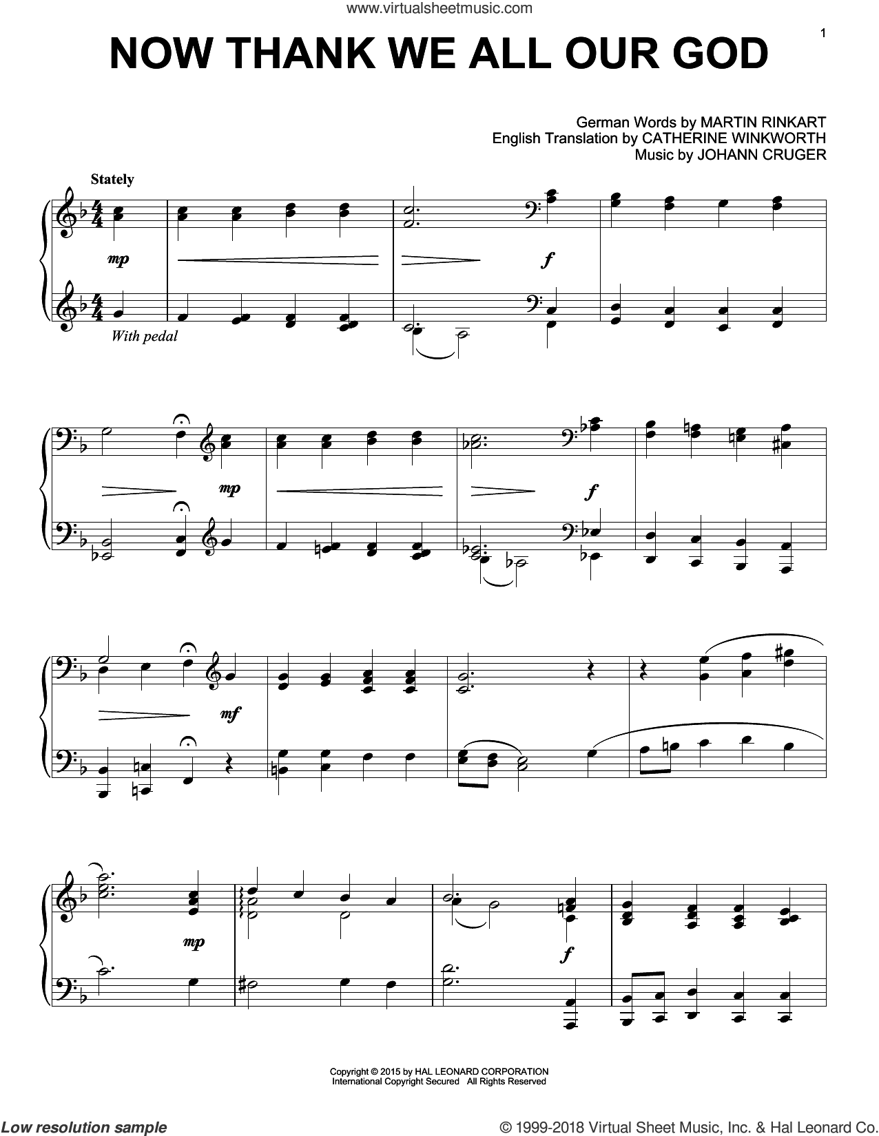 Now Thank We All Our God sheet music for piano solo by Catherine Winkworth