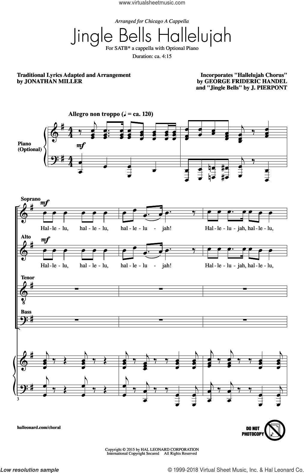 Jingle Bell Hallelujah sheet music for choir and piano (SATB) by George Frideric Handel, James Pierpont and Jonathan Miller. Score Image Preview.